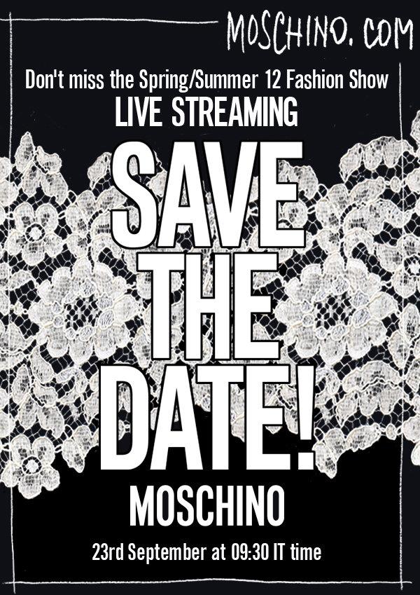 Moschino Livestreaming on 23 September  9:30 - Milano Fashion Week 2011