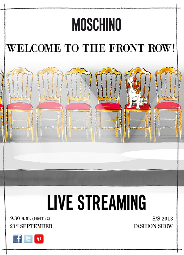 Moschino Spring Summer 2013 Fashion Show Live Streaming 21 September 2012 9.00 A.M GMT +2