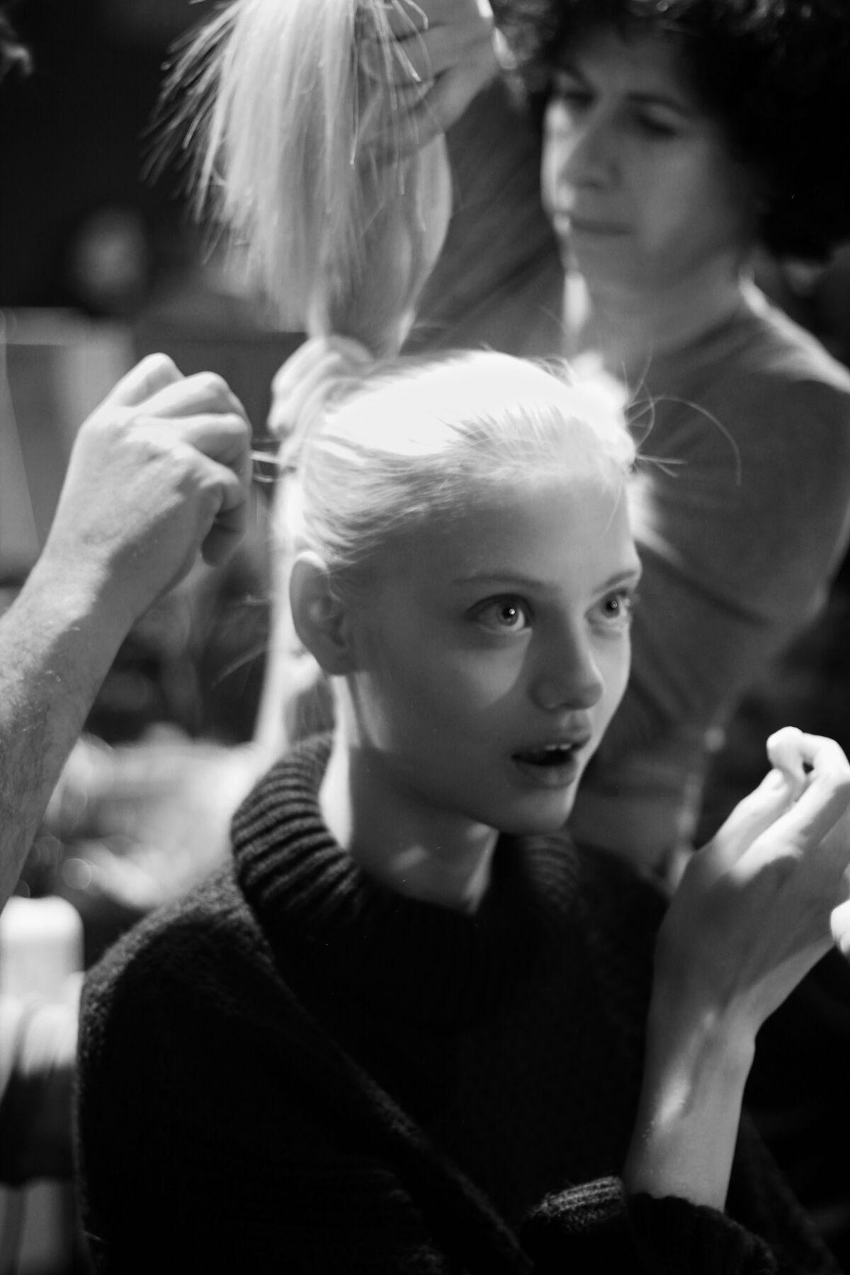 Fashion Model Backstage Hair Style