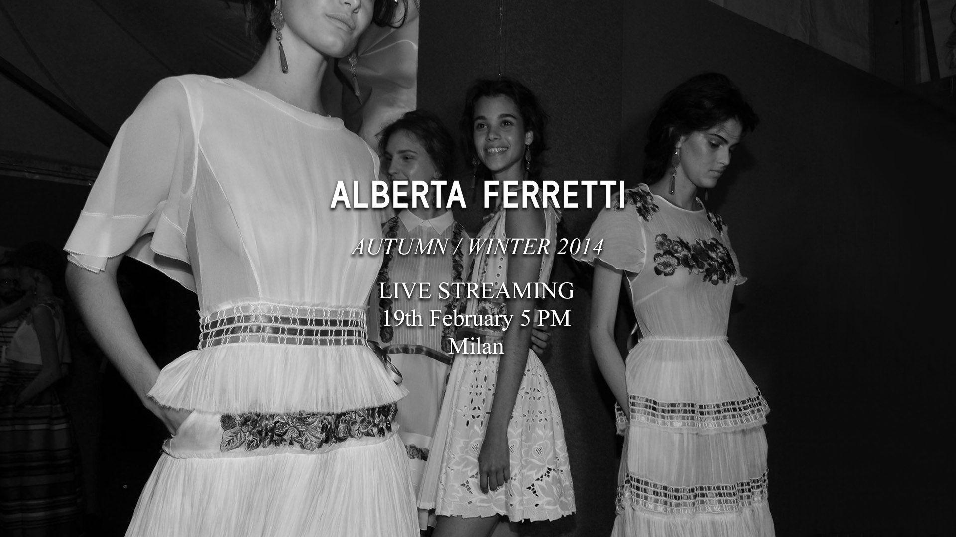Alberta Ferretti Autumn Winter 2014 Fashion Show Live Streaming 19th February 5pm Milan