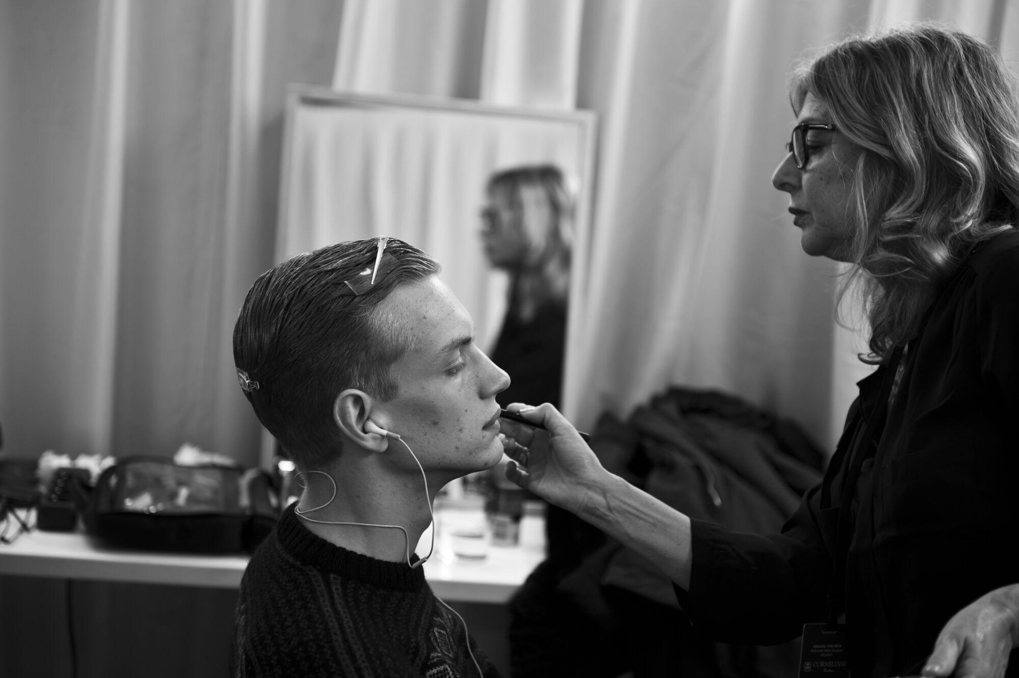 Backstage Makeup Corneliani Man Milano Fashion Week