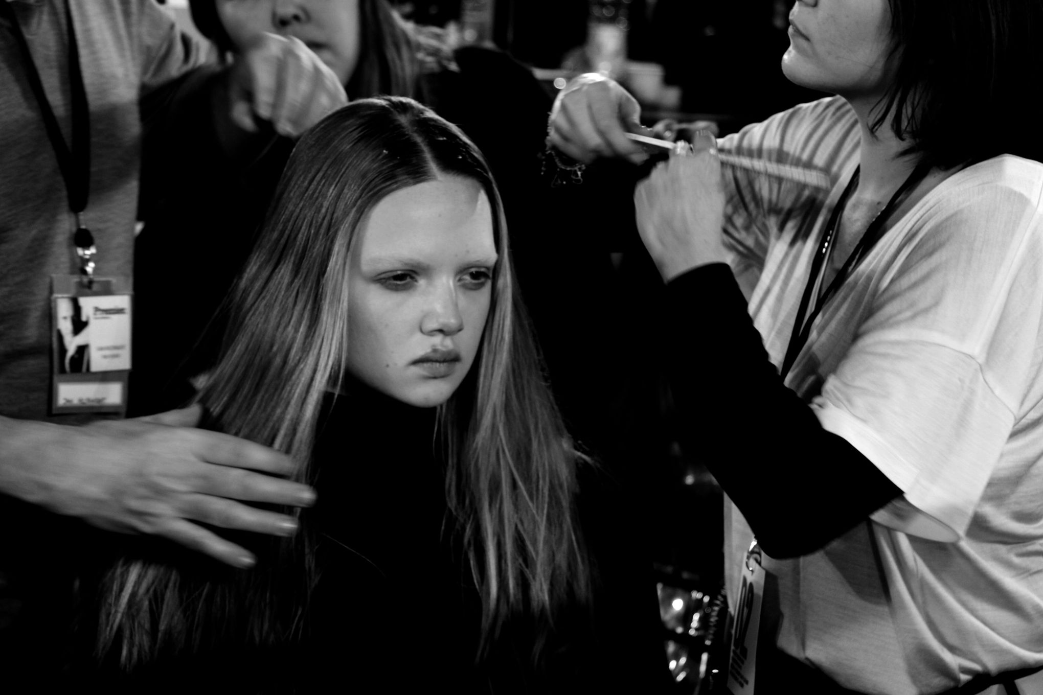 Backstage Dsquared2 Fashion Model Hair Style