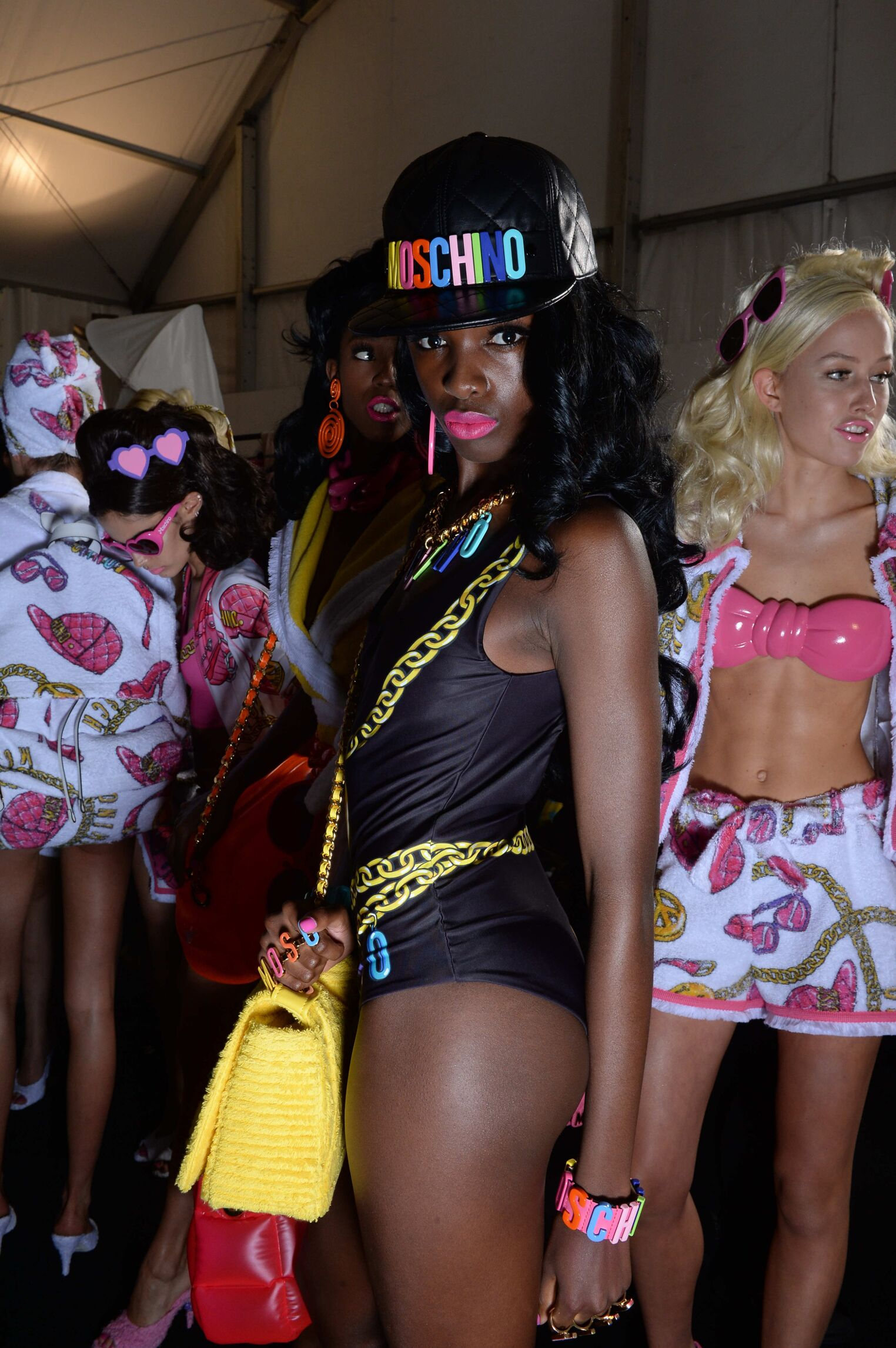 Backstage Moschino Woman Model Spring 2015