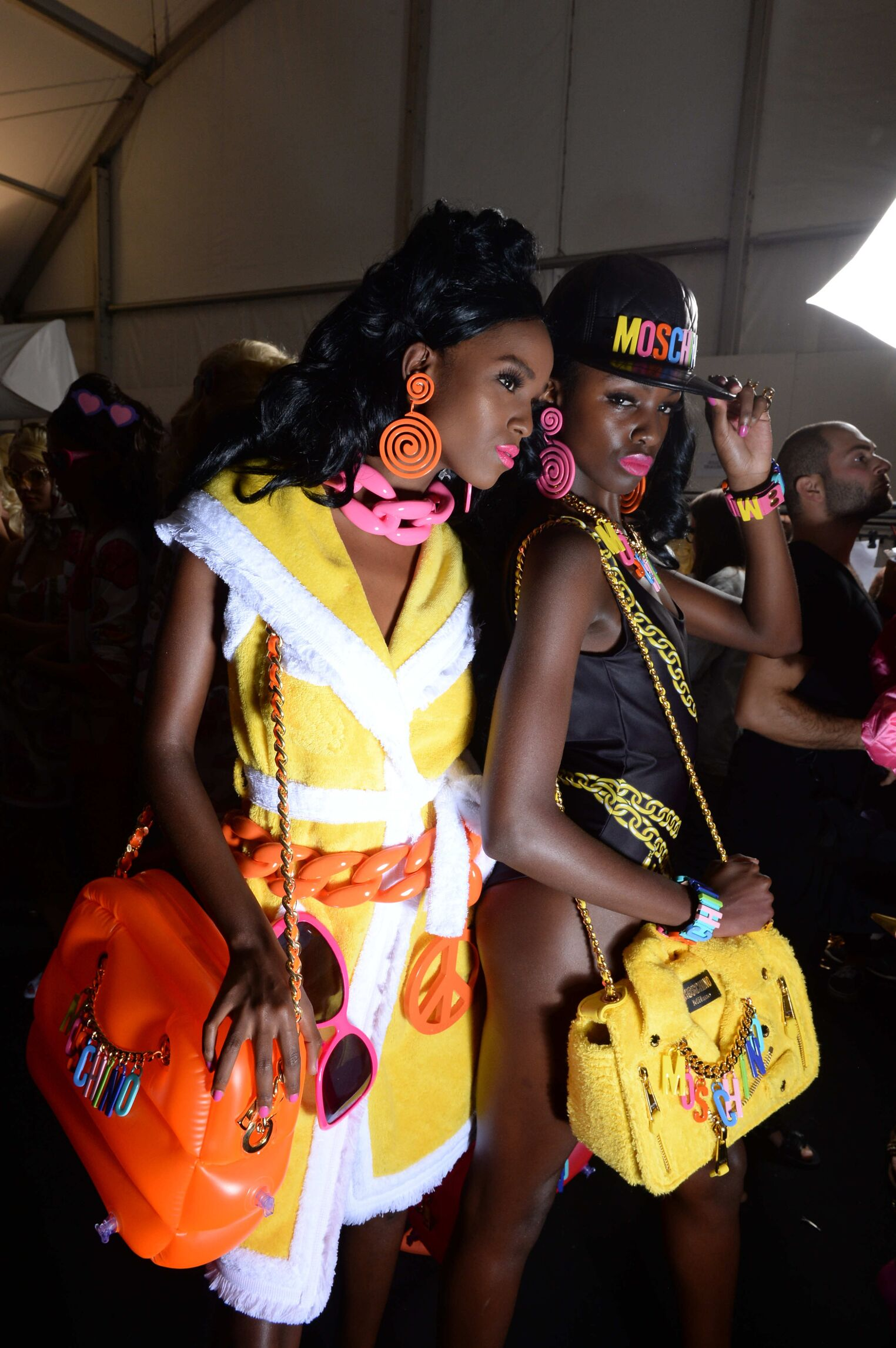 Models Moschino Backstage Spring Summer 2015