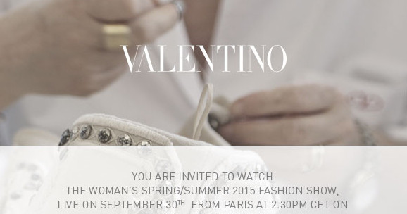 Valentino Spring Summer 2015 Women's Fashion Show Live Streaming Paris 30 September 2014