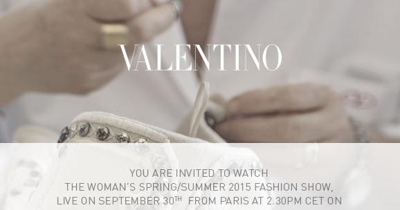Valentino Spring Summer 2015 Women's Fashion Show Live Streaming Paris 30 September 2014