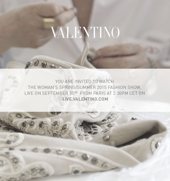 Valentino Spring Summer 2015 Women's Fashion Show Live Streaming Paris September 2014