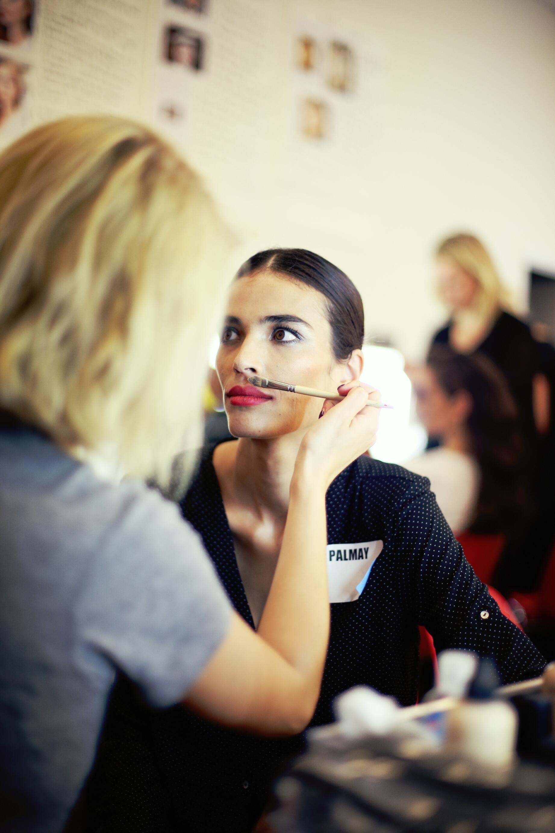 Backstage Woman Model Jean Paul Gaultier Summer 2015 Make Up