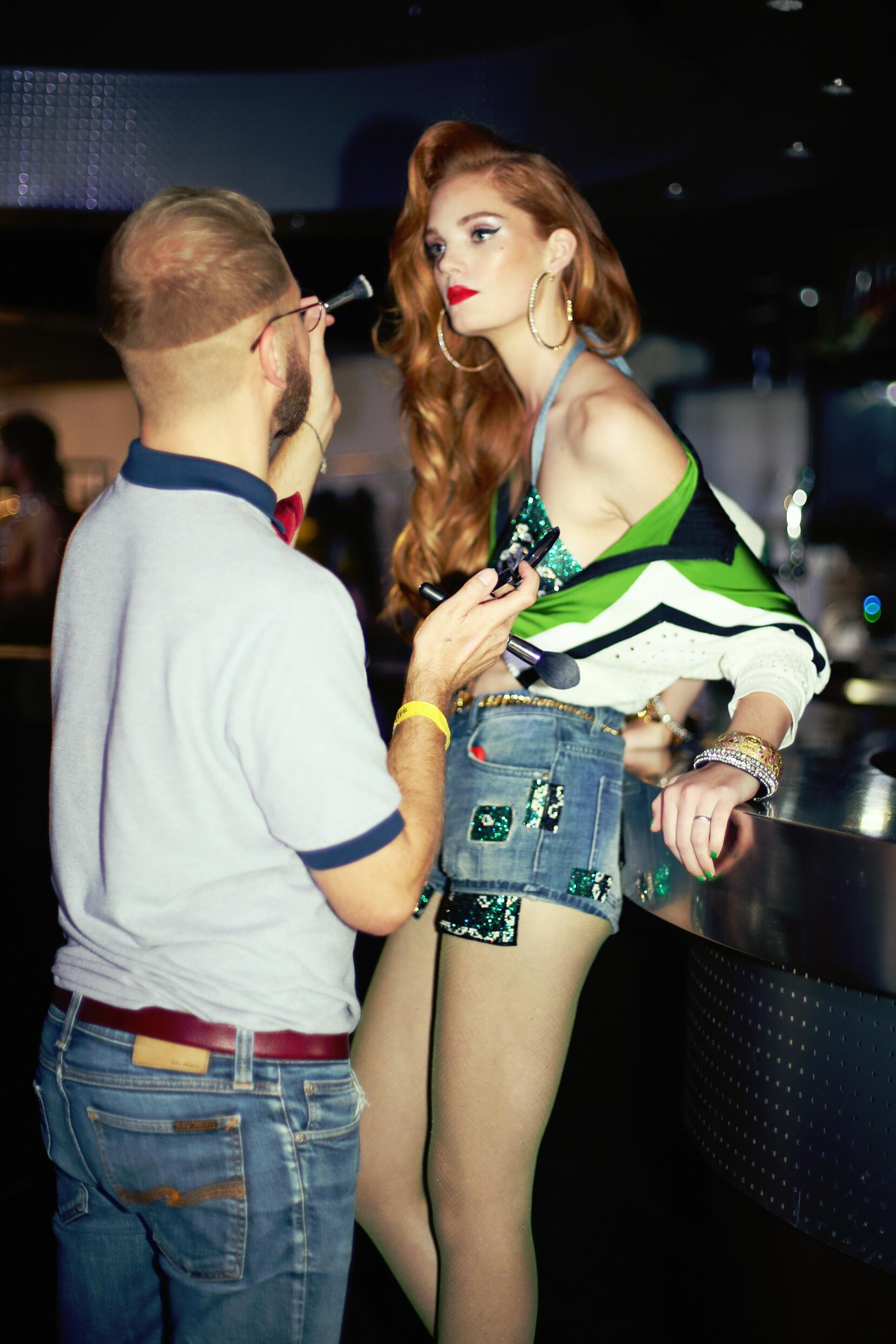 Backstage Woman Model Jean Paul Gaultier Summer 2015 Paris Make Up
