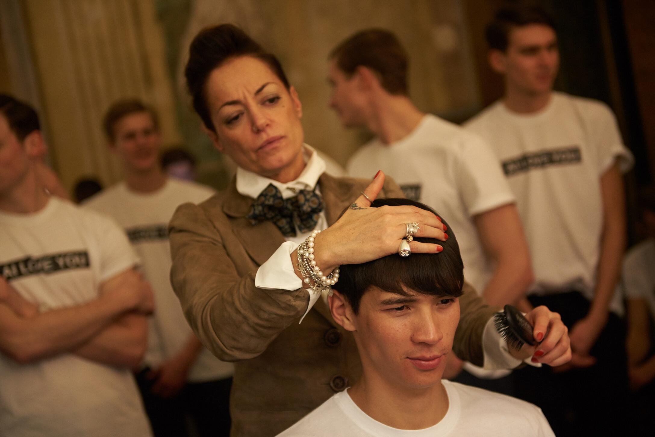 Backstage Hair Style Fashion Man Model