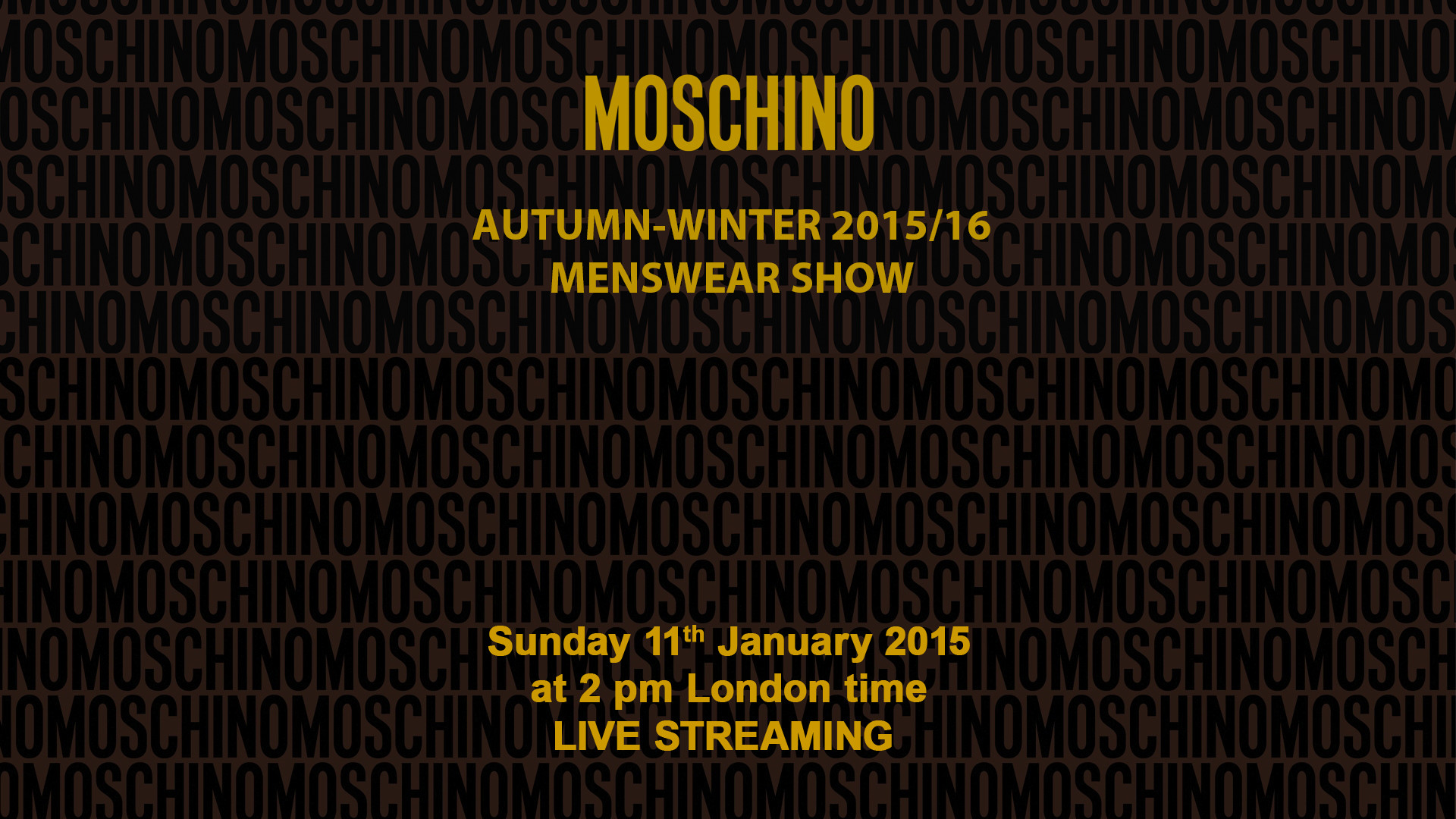 Moschino Autumn Winter 2015/16 Men's Fashion Show Live Streaming – 11th January 2 Pm London