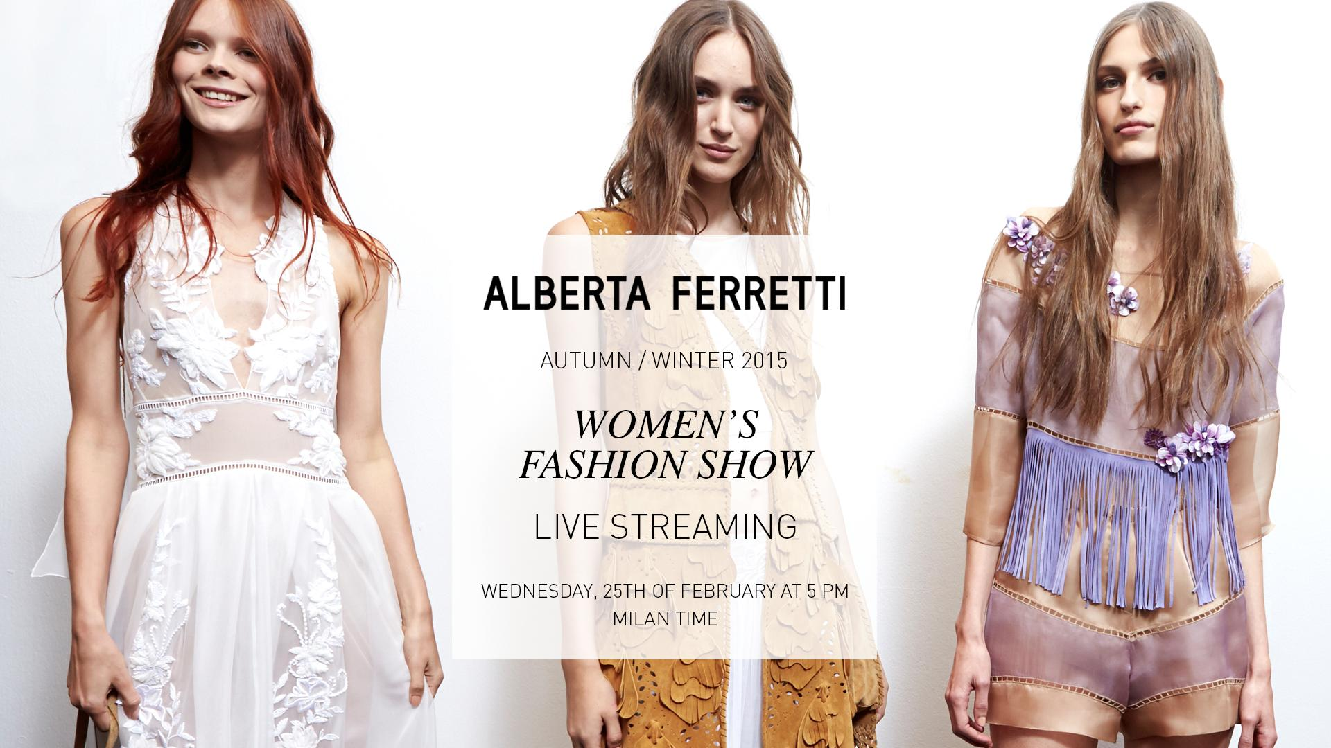 Alberta Ferretti Fall Winter 2015-16 Fashion Show Live Streaming 25th February 5pm Milan