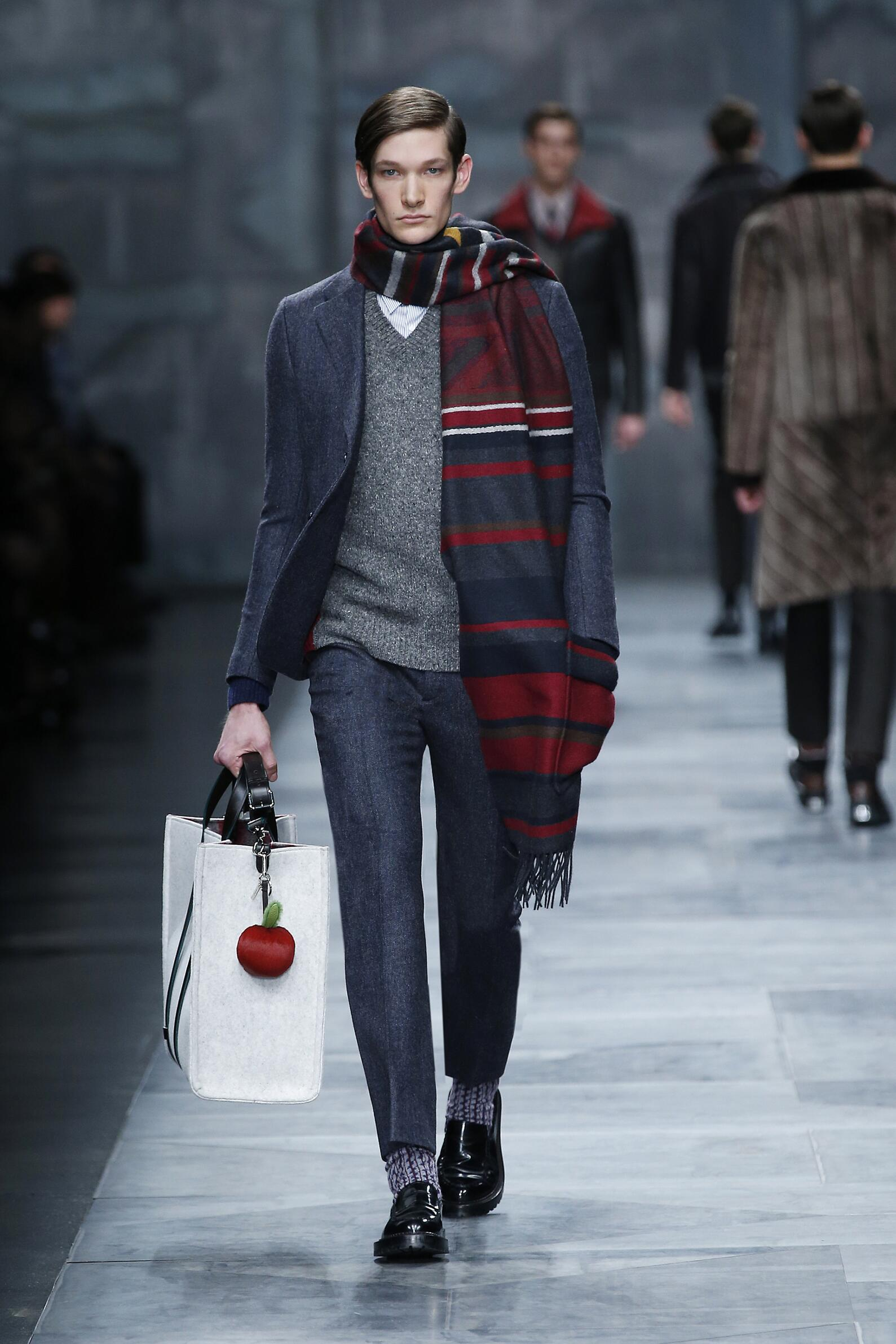 Fashion Man Model Fendi Collection Catwalk