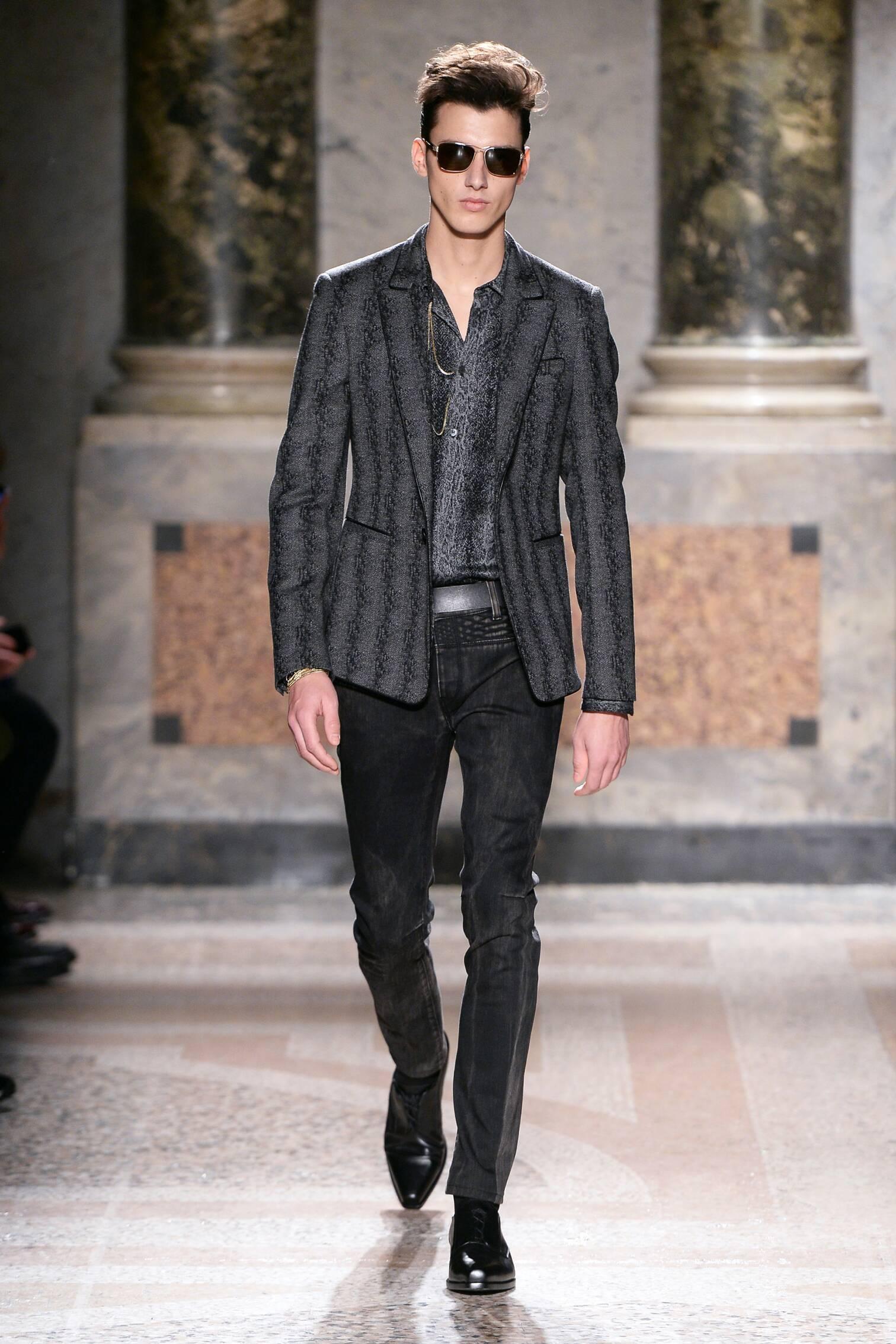 Fashion Man Model Roberto Cavalli Collection Catwalk