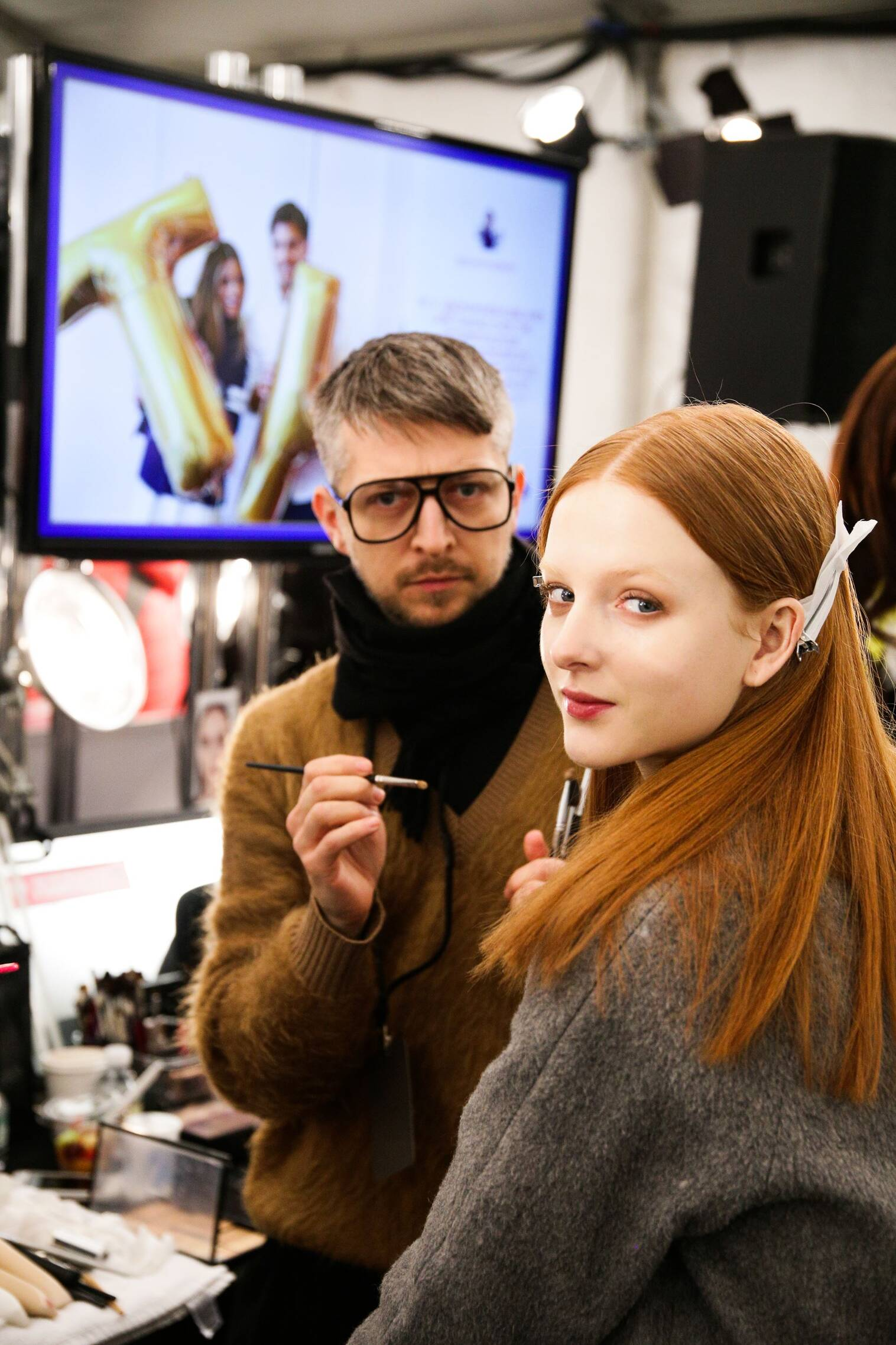 Make Up Fashion Model Backstage Tommy Hilfiger FW 2015 New York Fashion Week