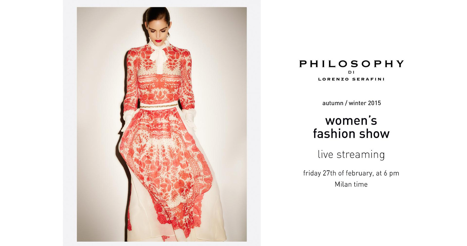 Philosophy Fall Winter 2015 16 Womens Fashion Show Live Streaming 27th February 6pm Milan 2015