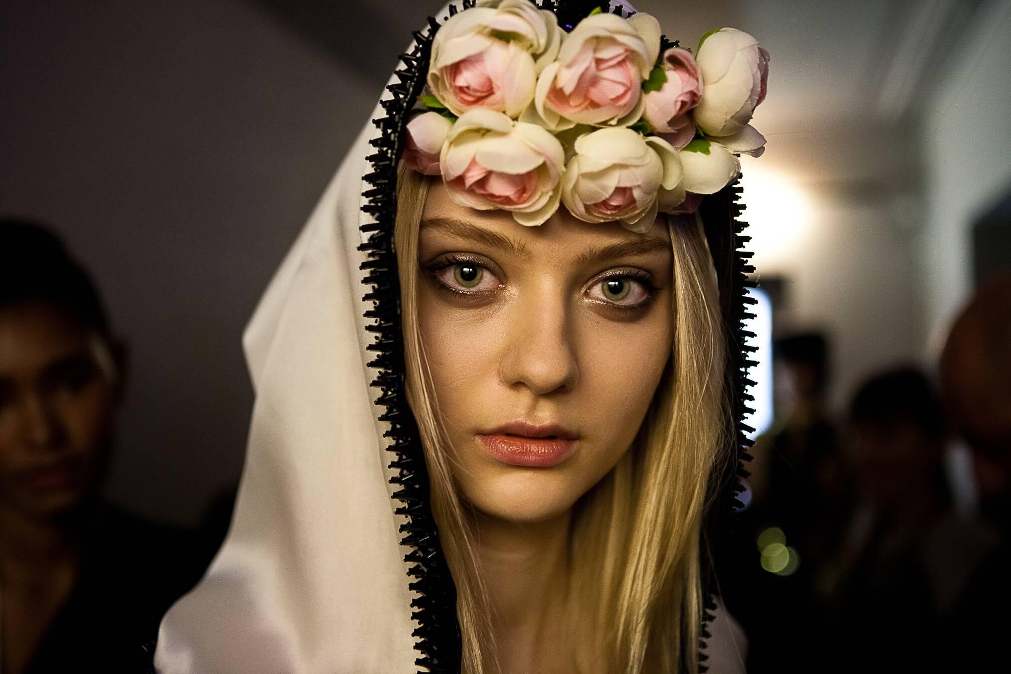 Woman Model Style 2015 Backstage Jean Paul Gaultier Haute Couture Paris