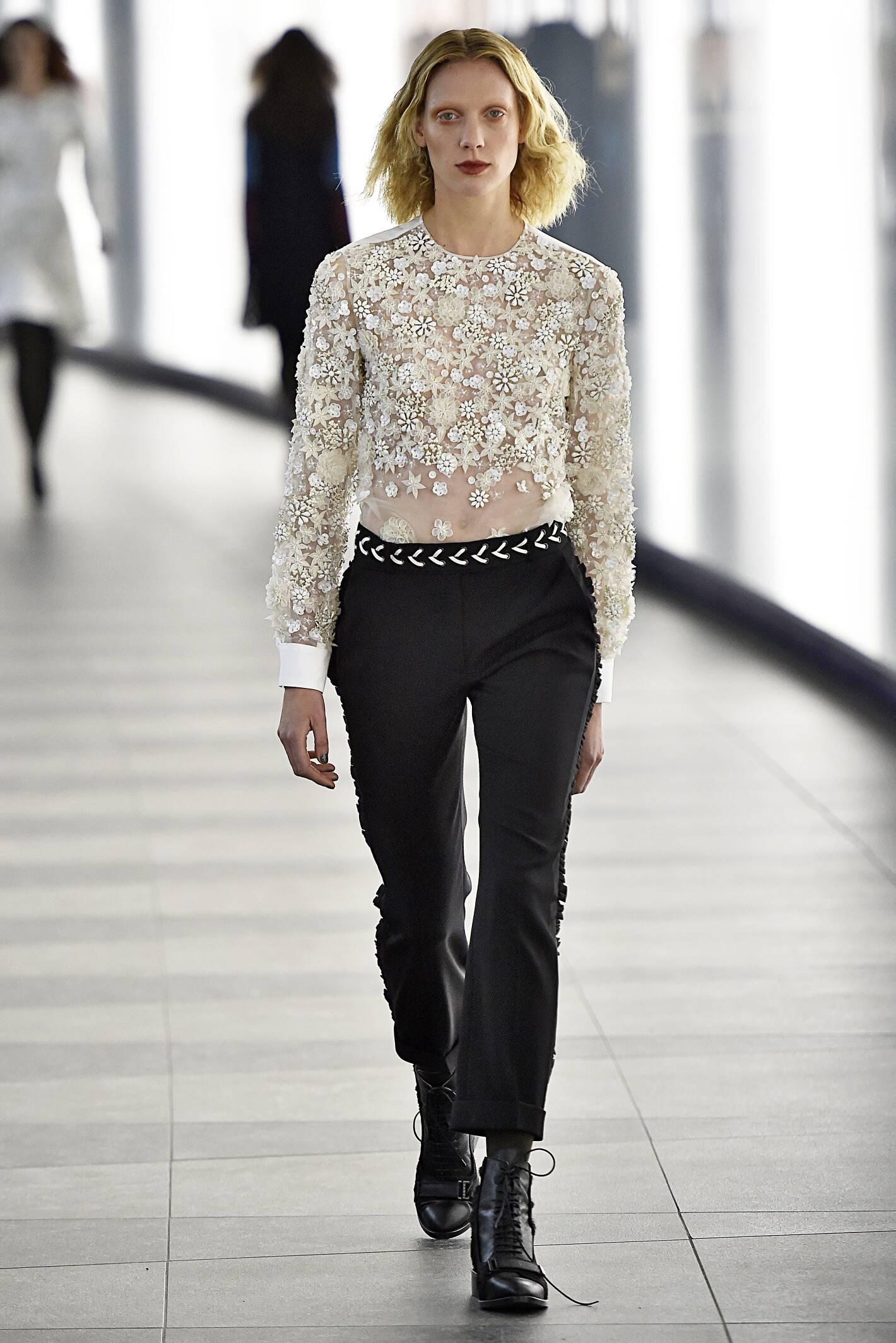 Fashion Woman Model Preen by Thornton Bregazzi Collection Catwalk