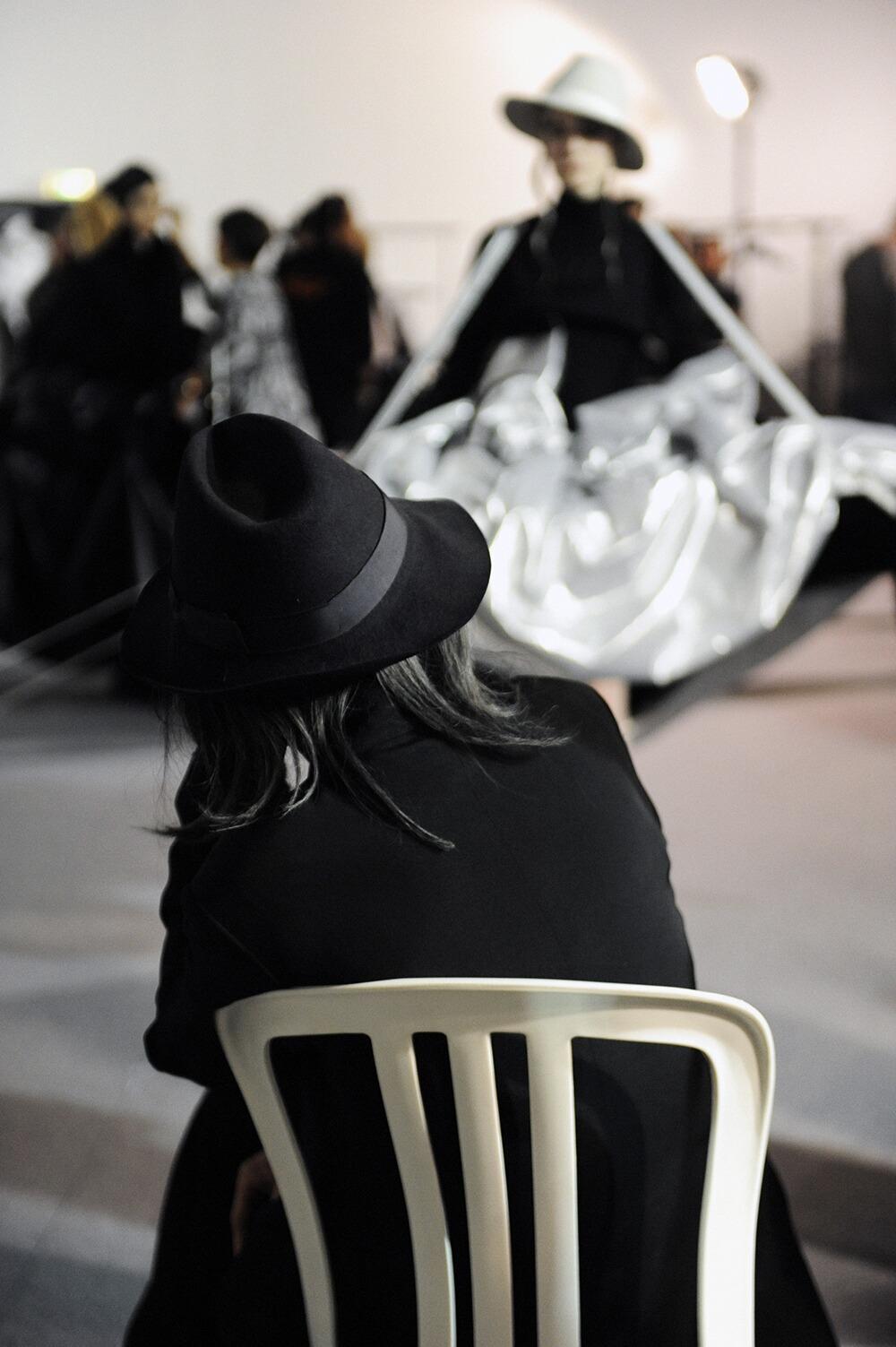 Backstage Yohji Yamamoto Model