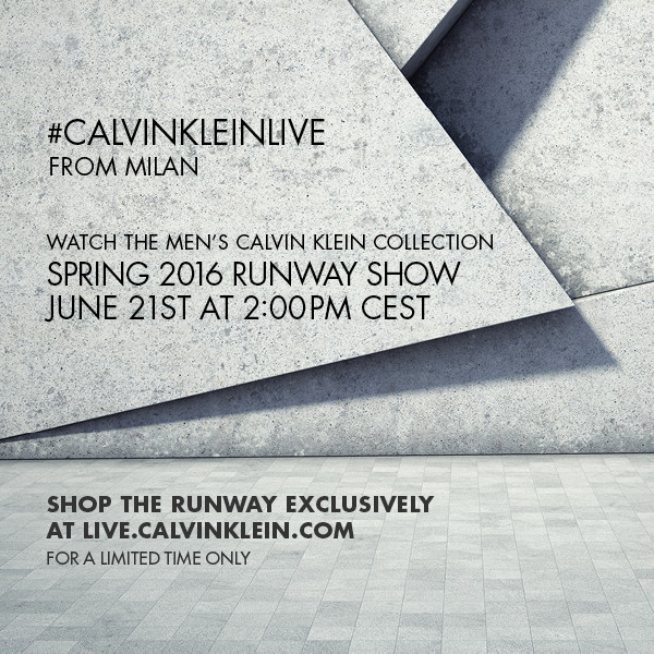 Calvin Klein Collection Spring 2016 Mens Runway Show Live Streaming June 21st