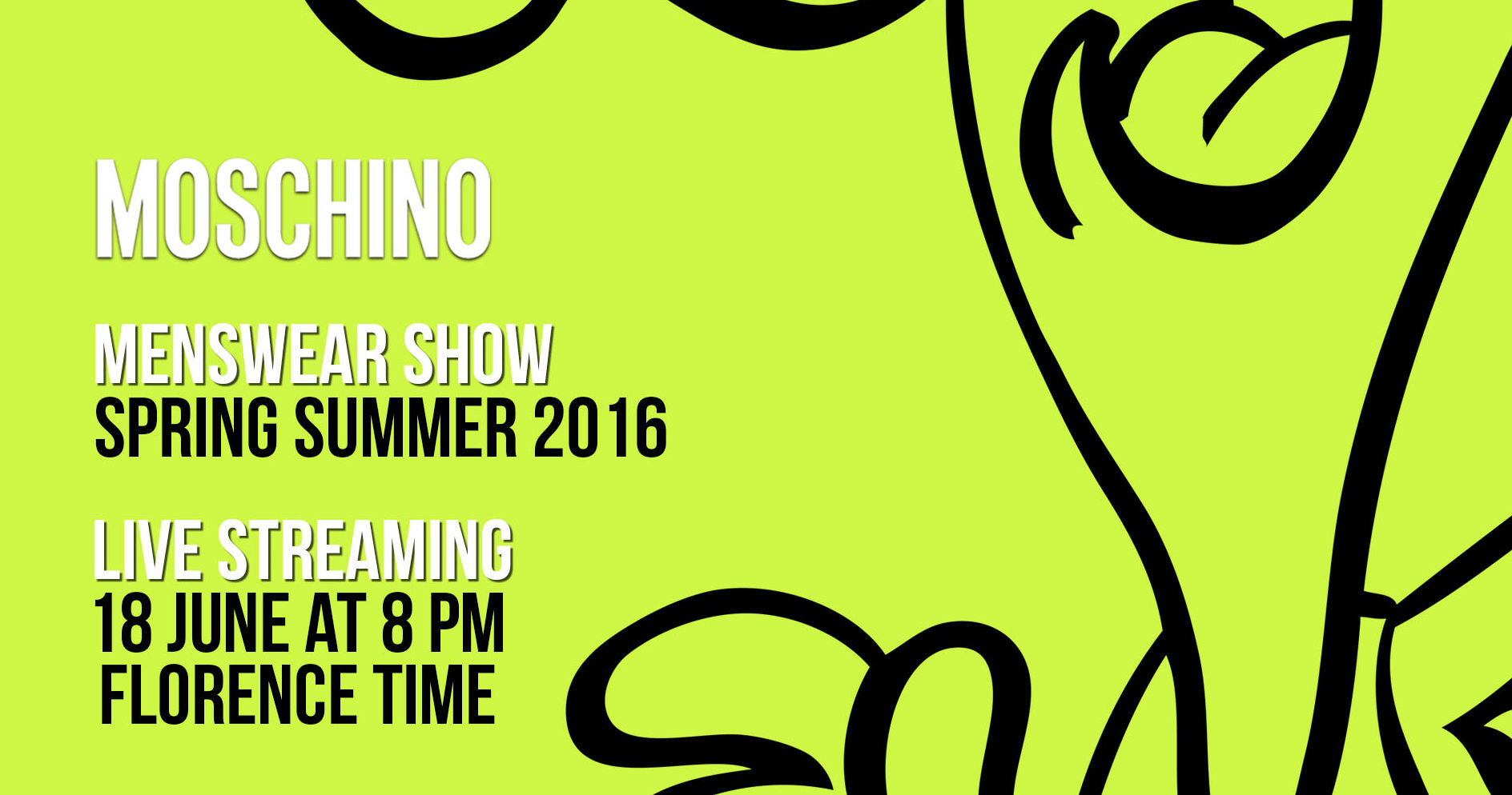 Moschino Spring Summer 2016 Men's Fashion Show Live Streaming 18th June 8pm Florence