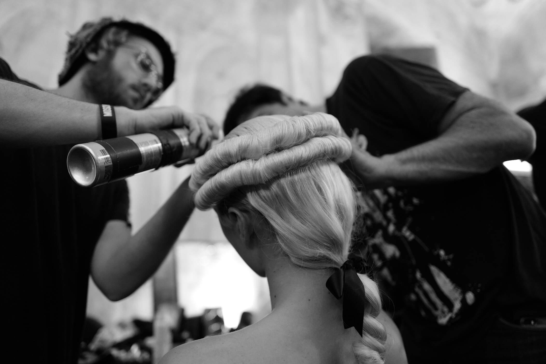 Backstage Moschino Hair Stylist