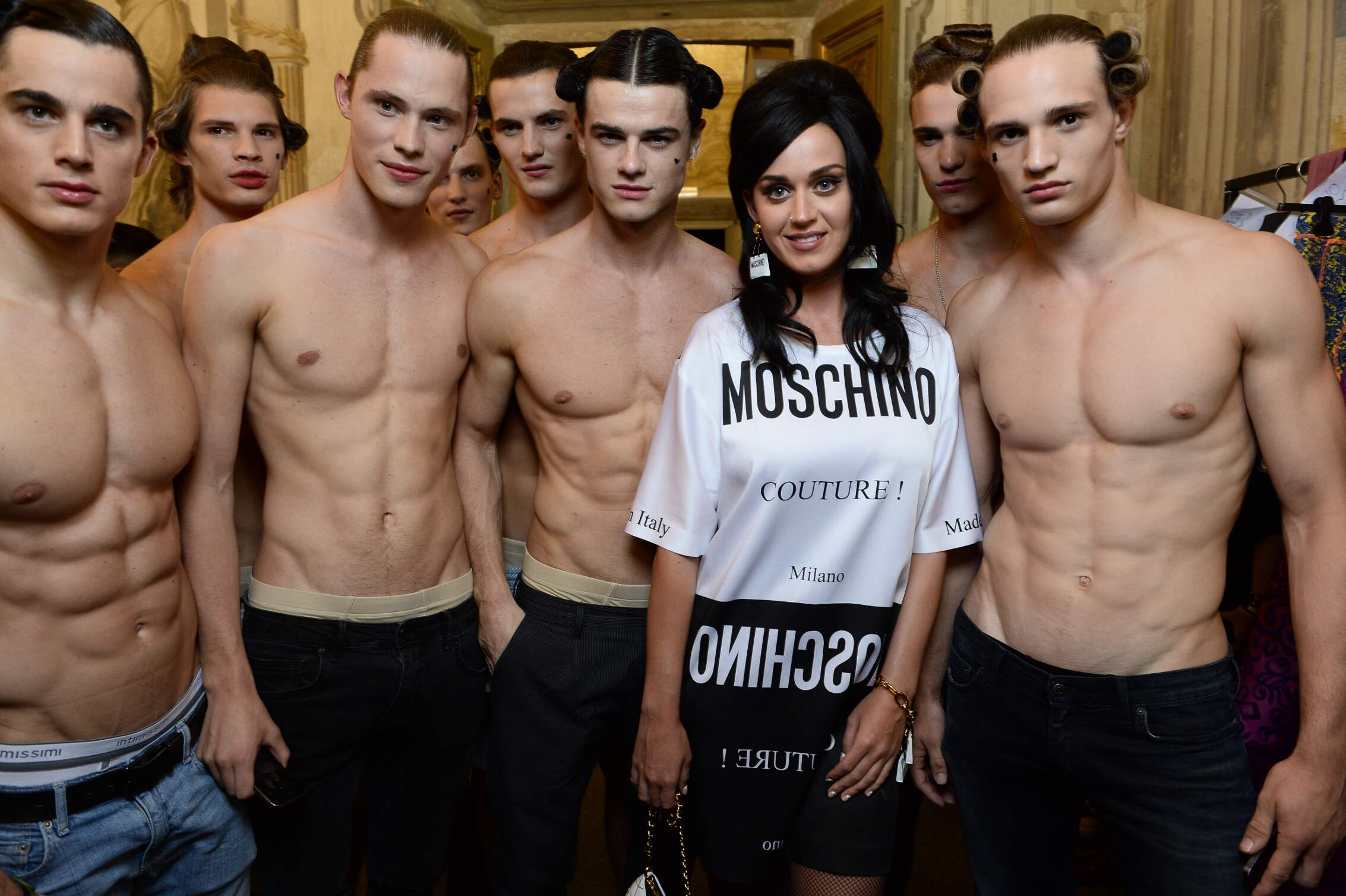 Backstage Moschino Models and Katy Perry