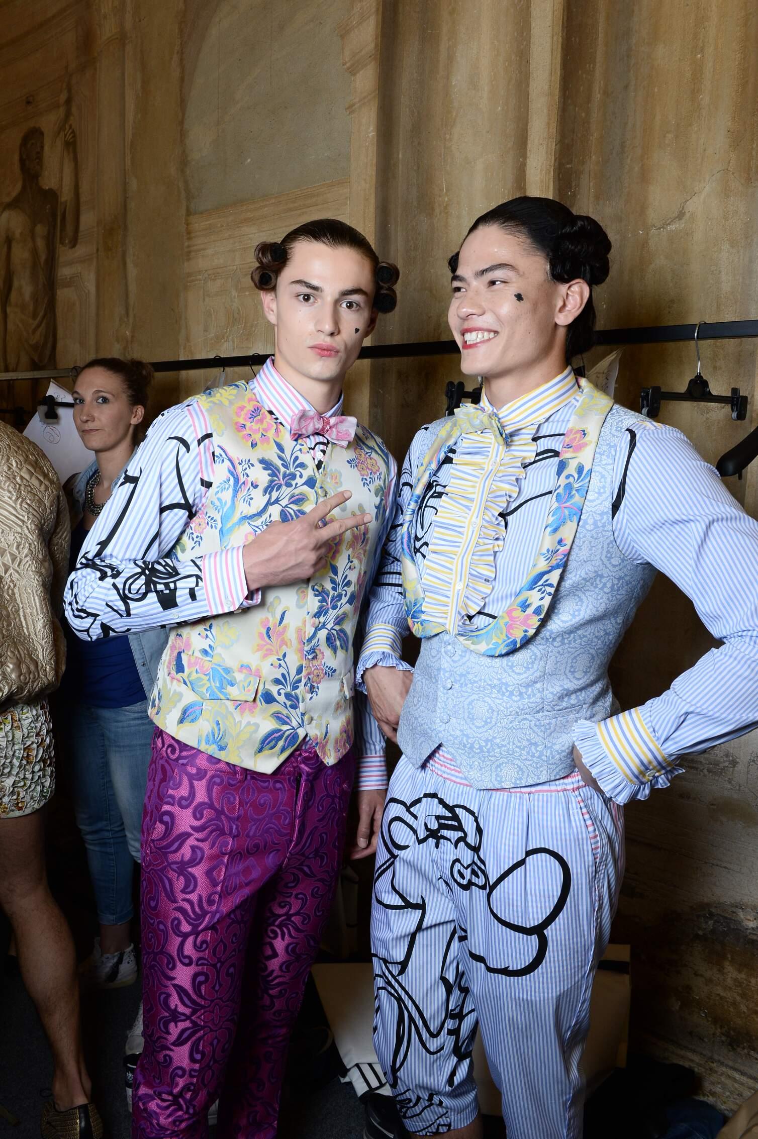 Models Moschino Backstage Menswear