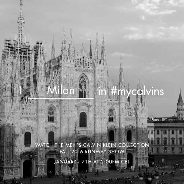 Calvin Klein Fall Winter 2016 Men's Fashion Show Live Streaming 17th January 2.00 pm Milan