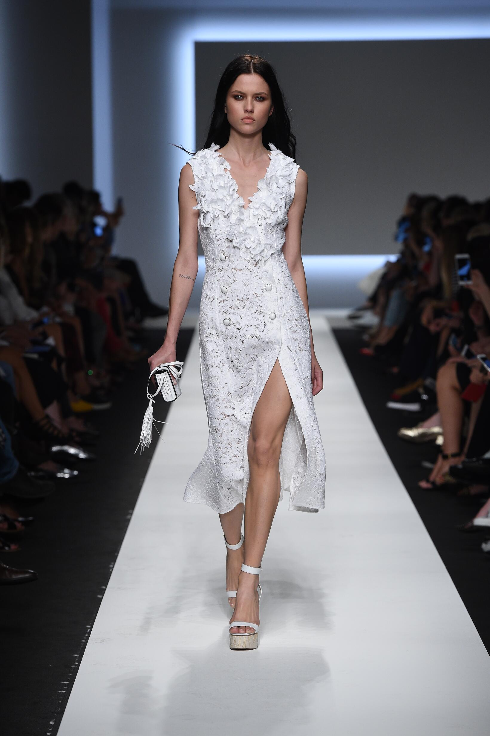 Fashion Woman Model Ermanno Scervino Catwalk
