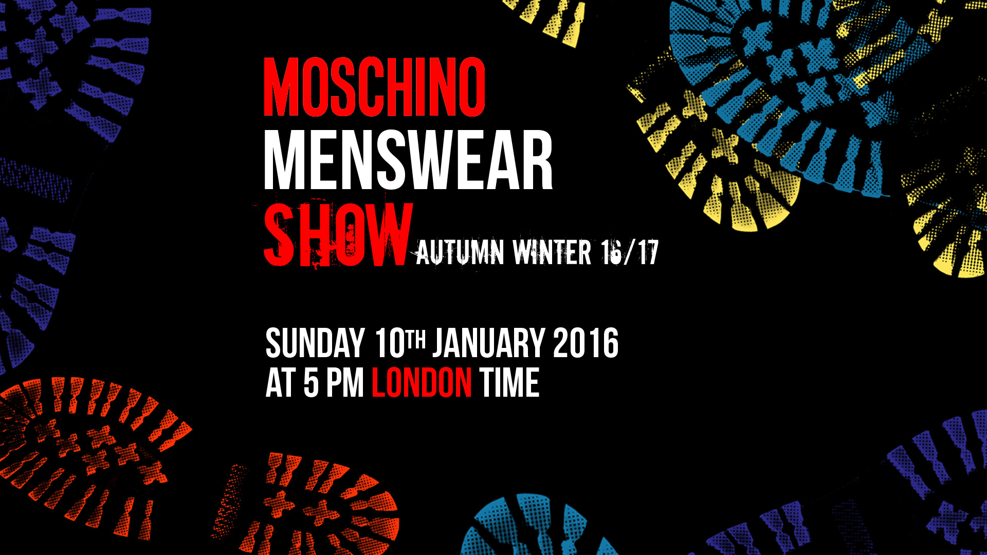 Moschino Autumn Winter 2016-17 Men's Fashion Show Live Streaming 10th January 5 Pm London
