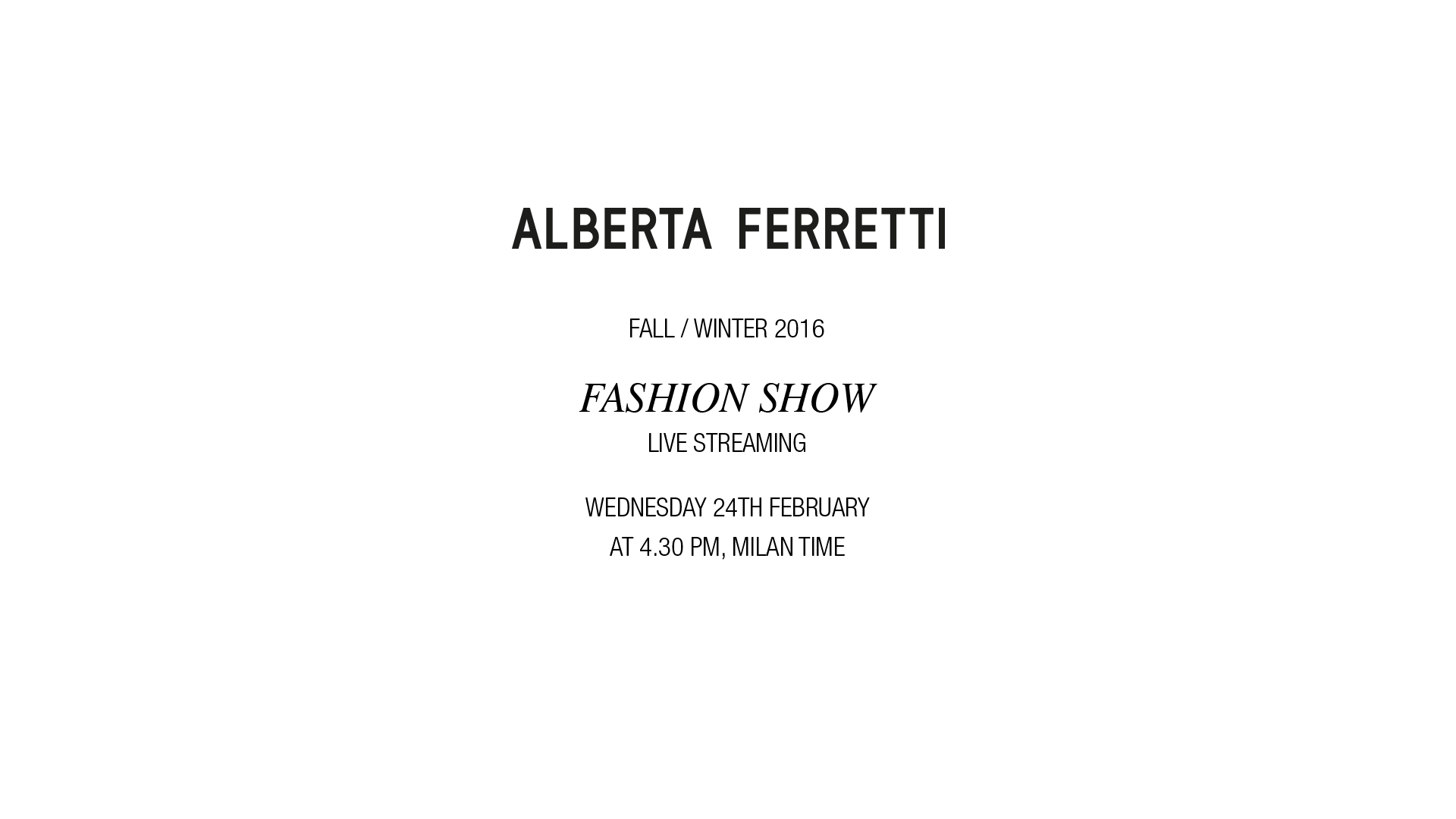 Alberta Ferretti Fall Winter 2016 Women's Fashion Show Live Streaming Milan