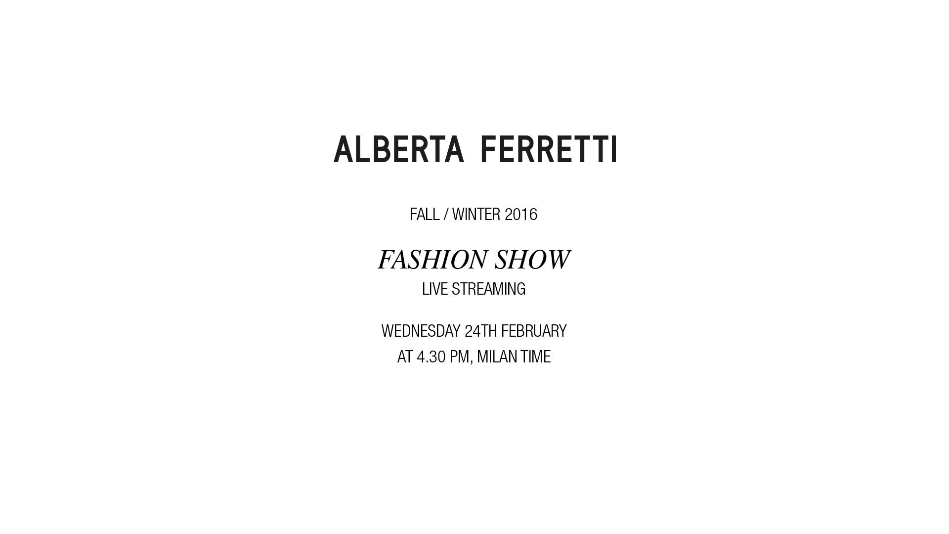 Alberta Ferretti Fall Winter 2016 Women's Fashion Show Live Streaming Milan
