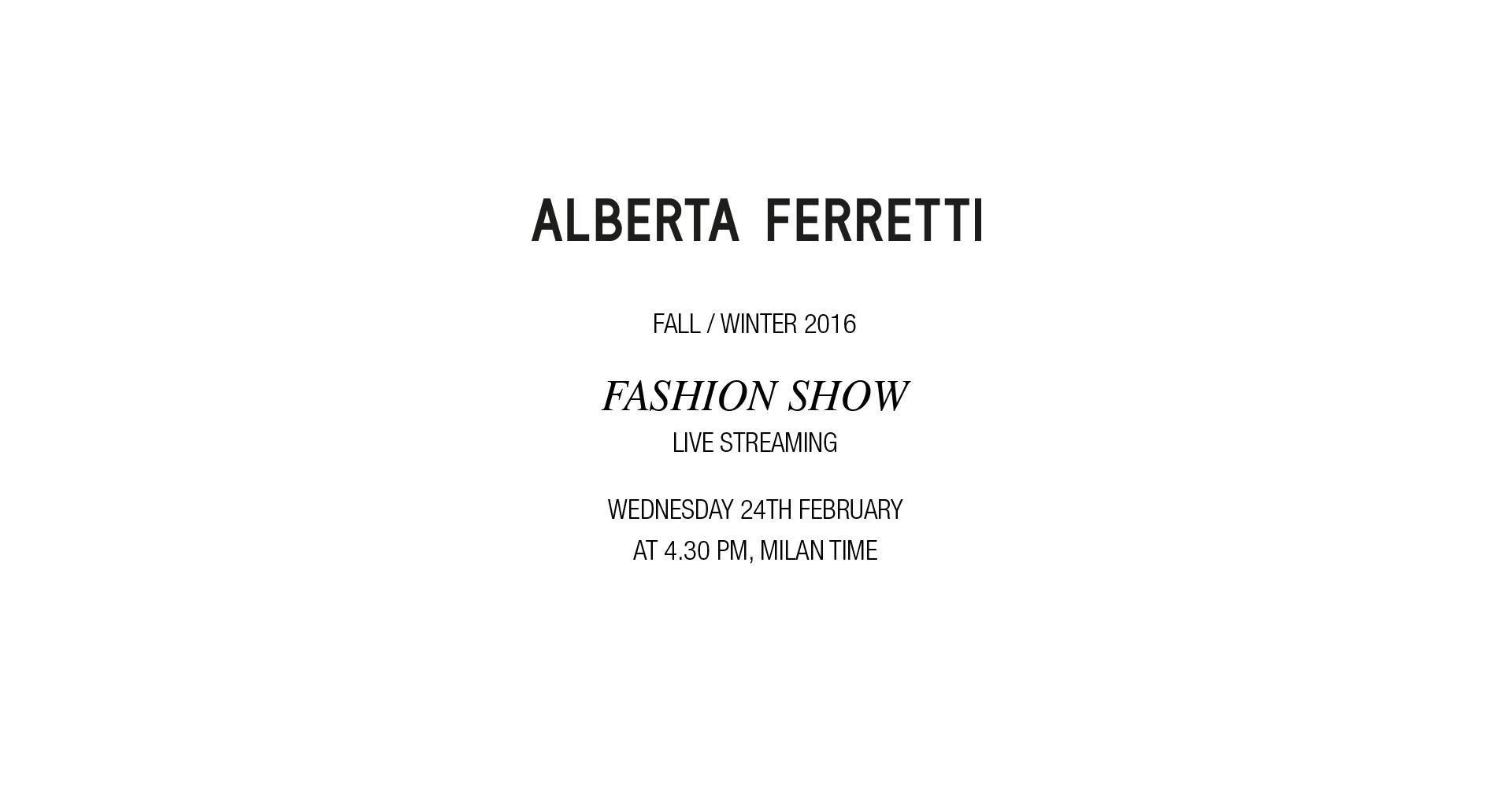 Alberta Ferretti Fall Winter 2016 Women's Fashion Show Live Streaming