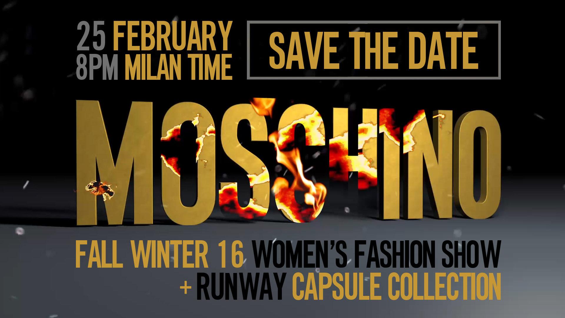 Moschino Fall Winter 2016 Women's Fashion Show Live Streaming