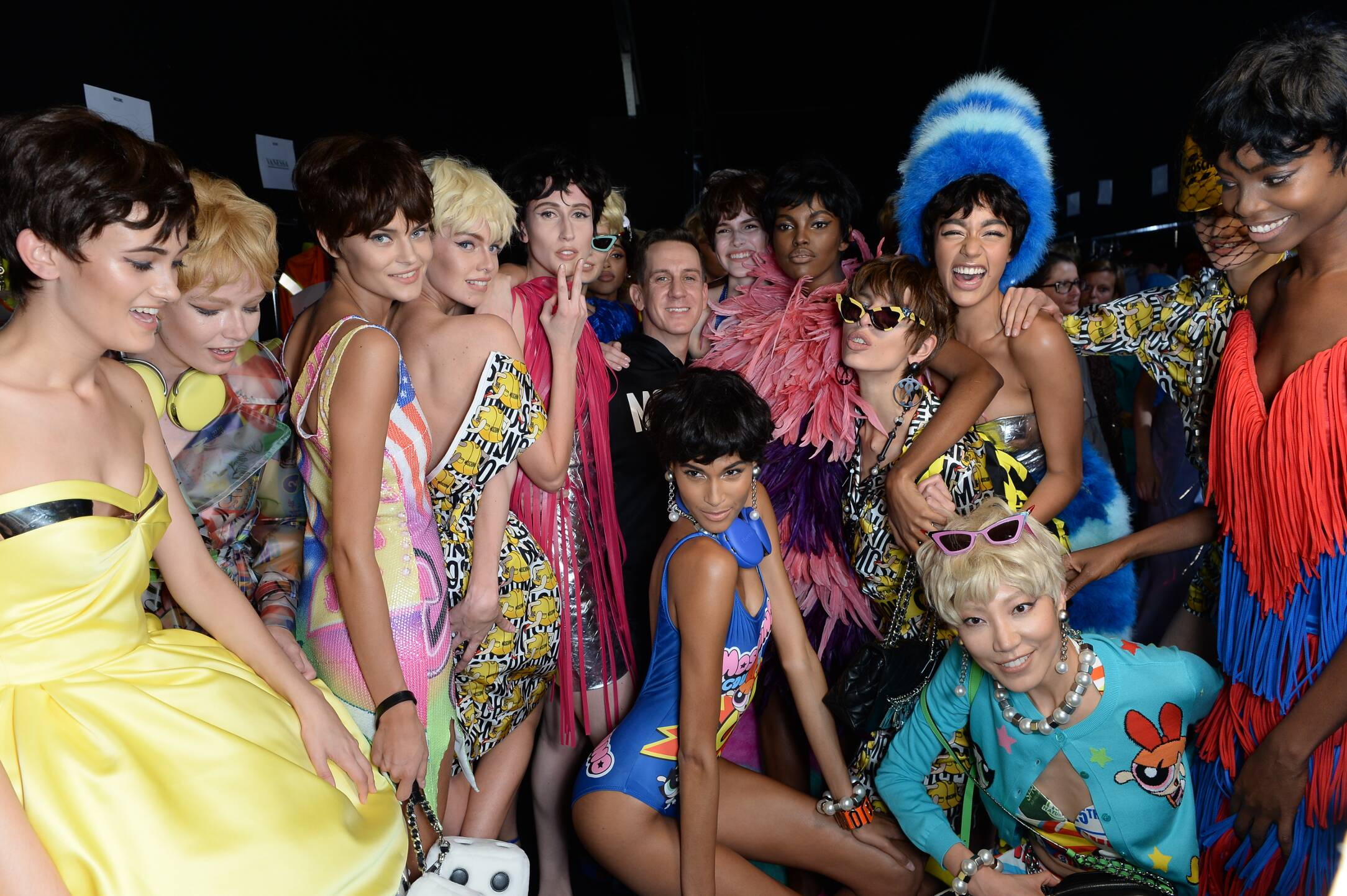 Backstage Moschino Jeremy Scott and Models Milan