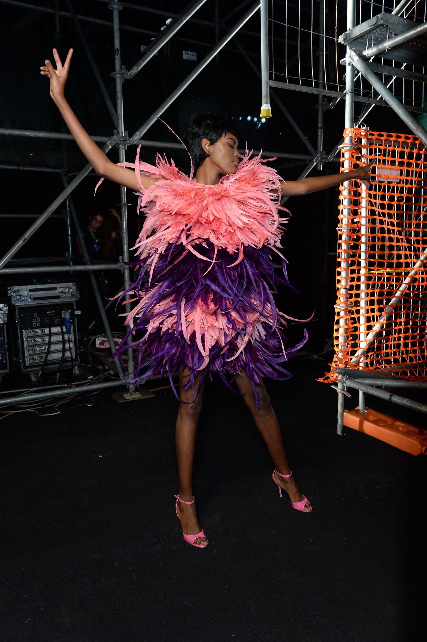 Fashion Model Moschino Backstage Milan