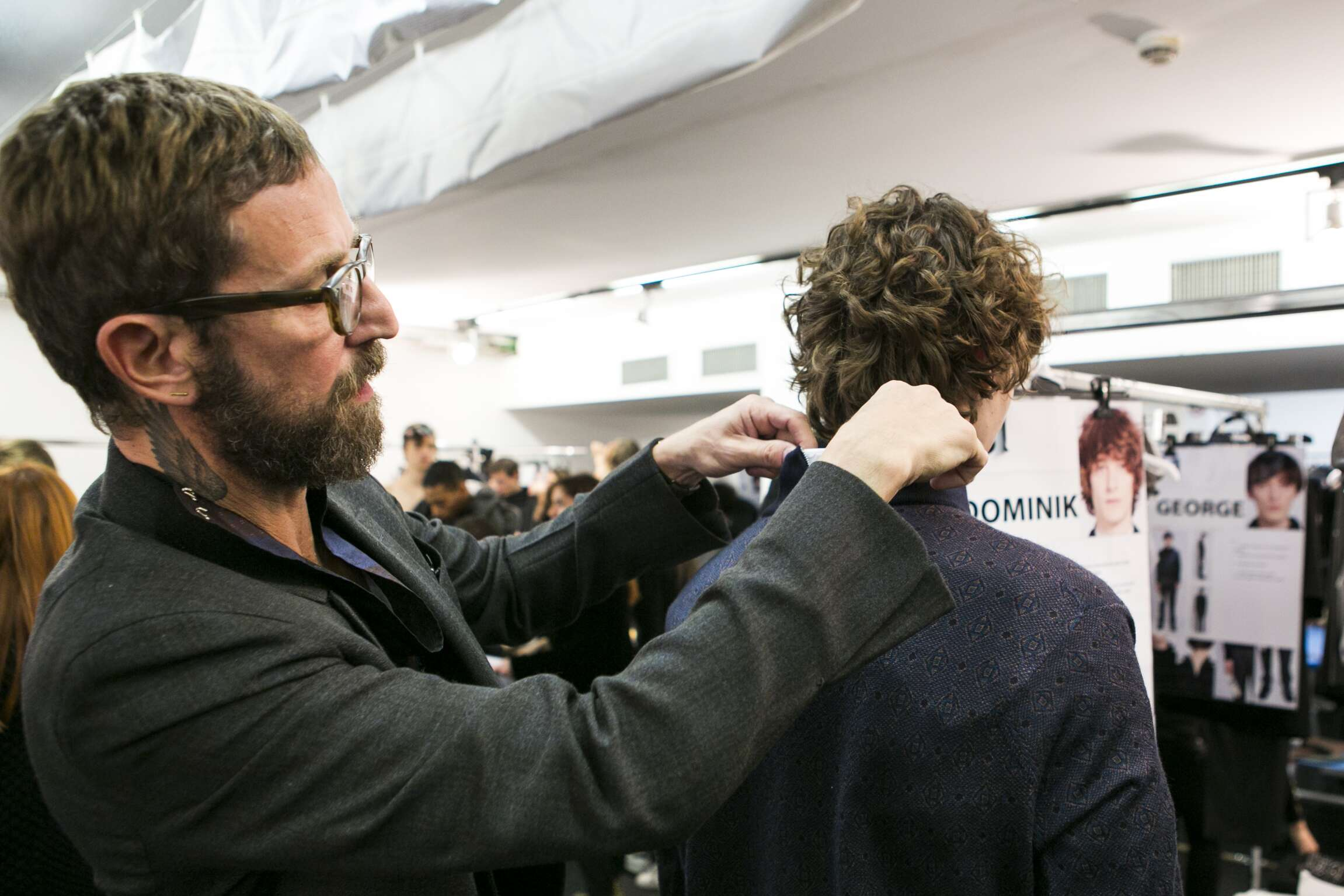 Backstage Man Ermenegildo Zegna Couture Model and Stefano Pilati