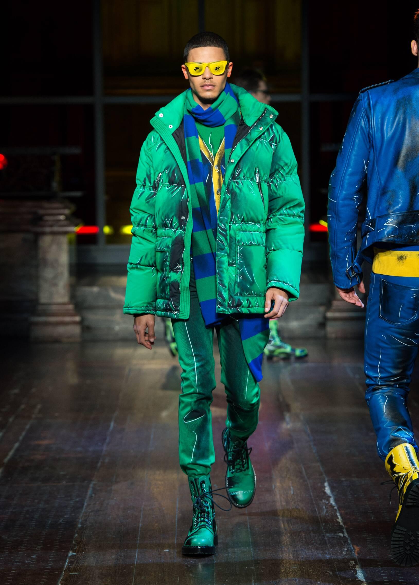 Fashion Man Model Moschino Catwalk