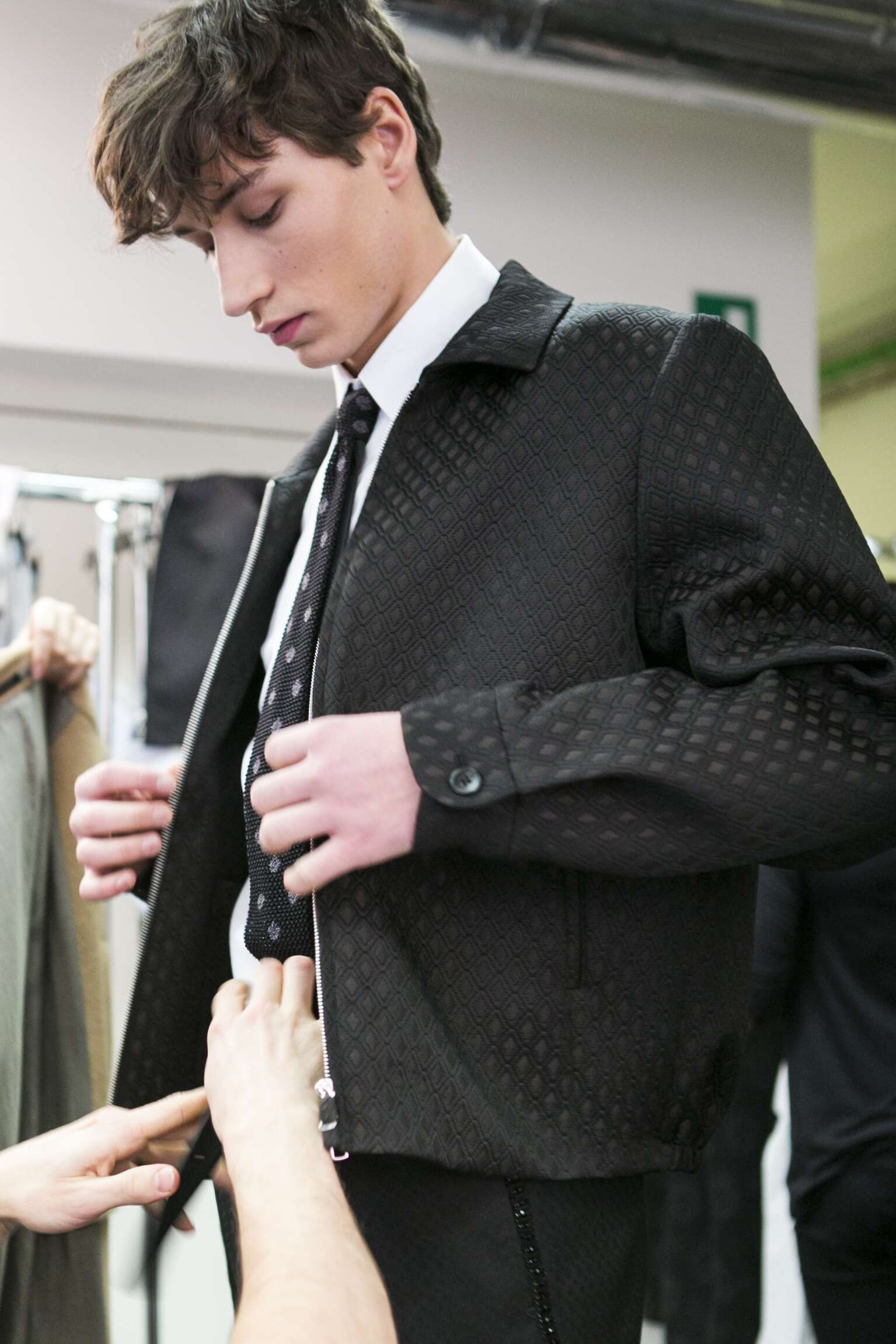 Model Backstage Ermenegildo Zegna Couture Milan Fashion Week Man