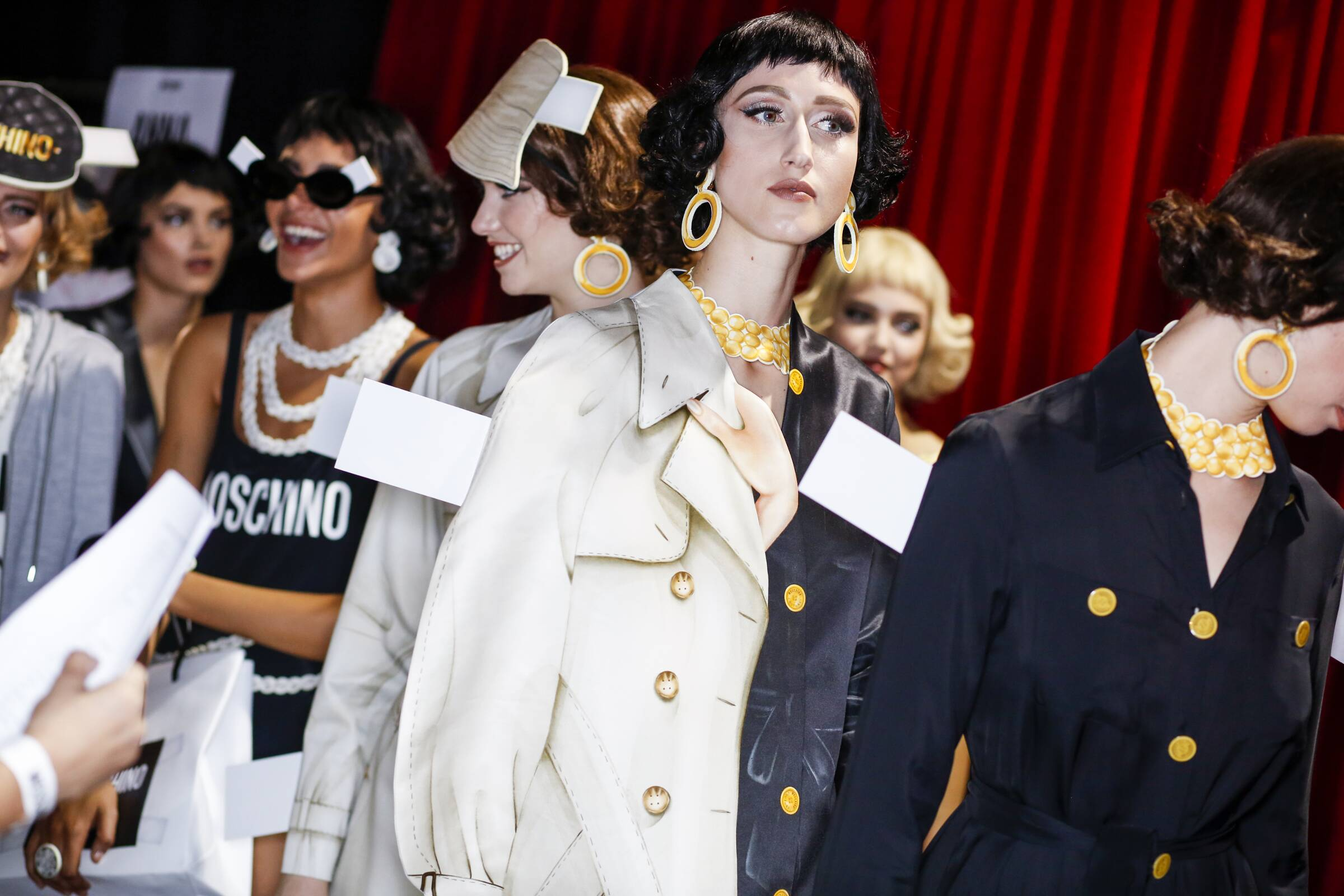 Backstage Moschino Fashion Show Women Models