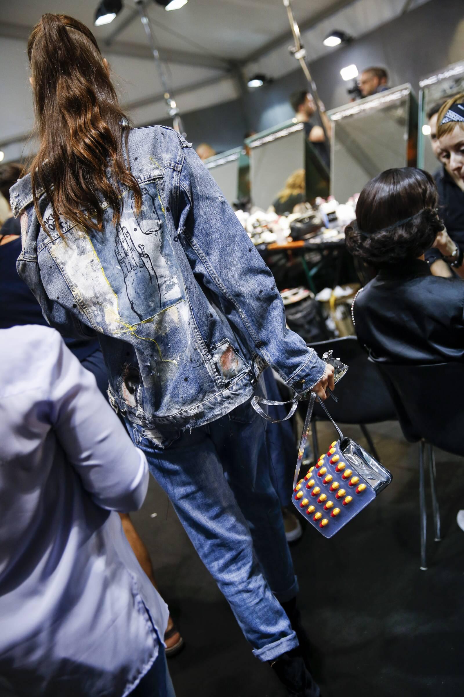 Backstage Moschino Model Milan Fashion Week