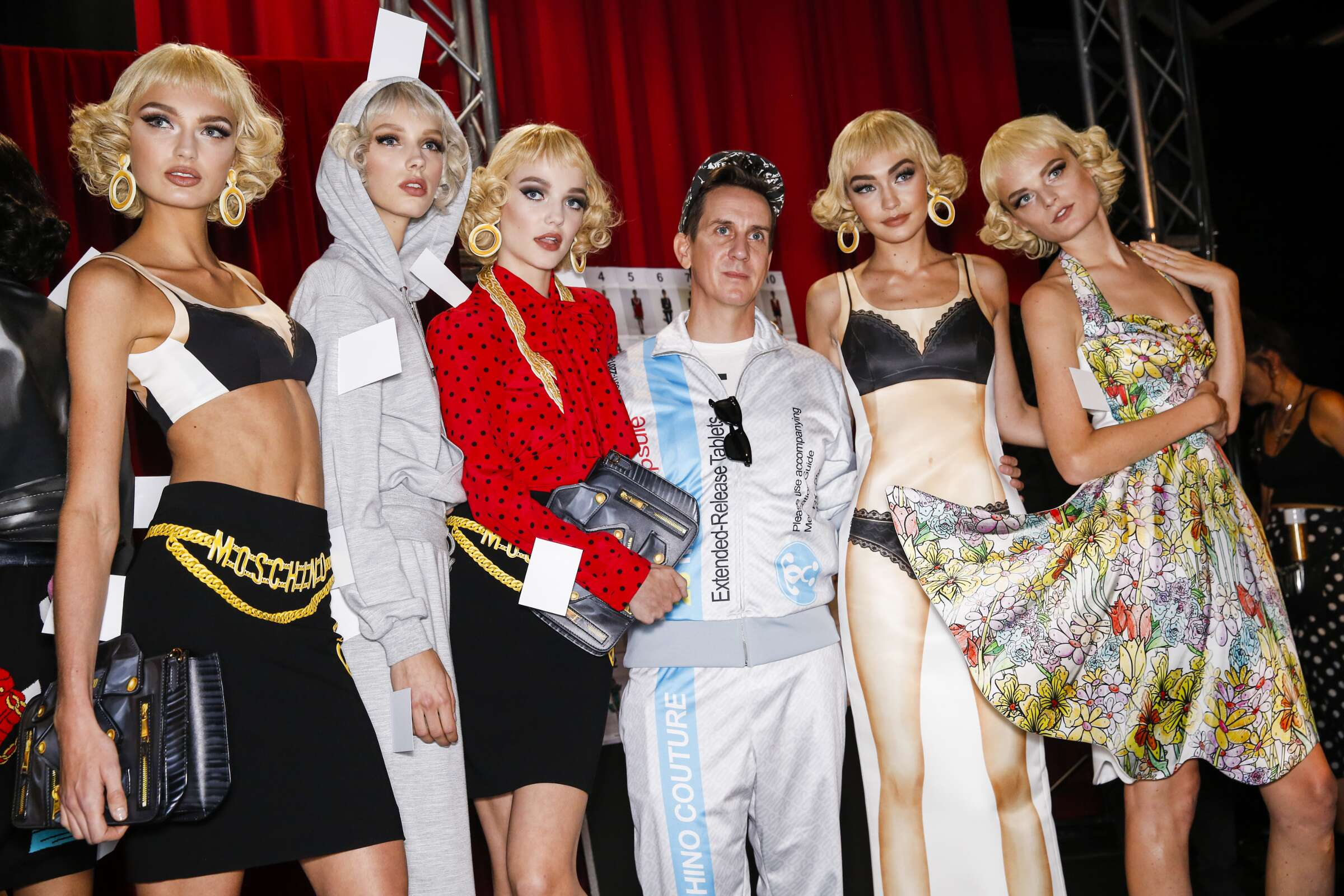 Backstage Moschino Models and Jeremy Scott