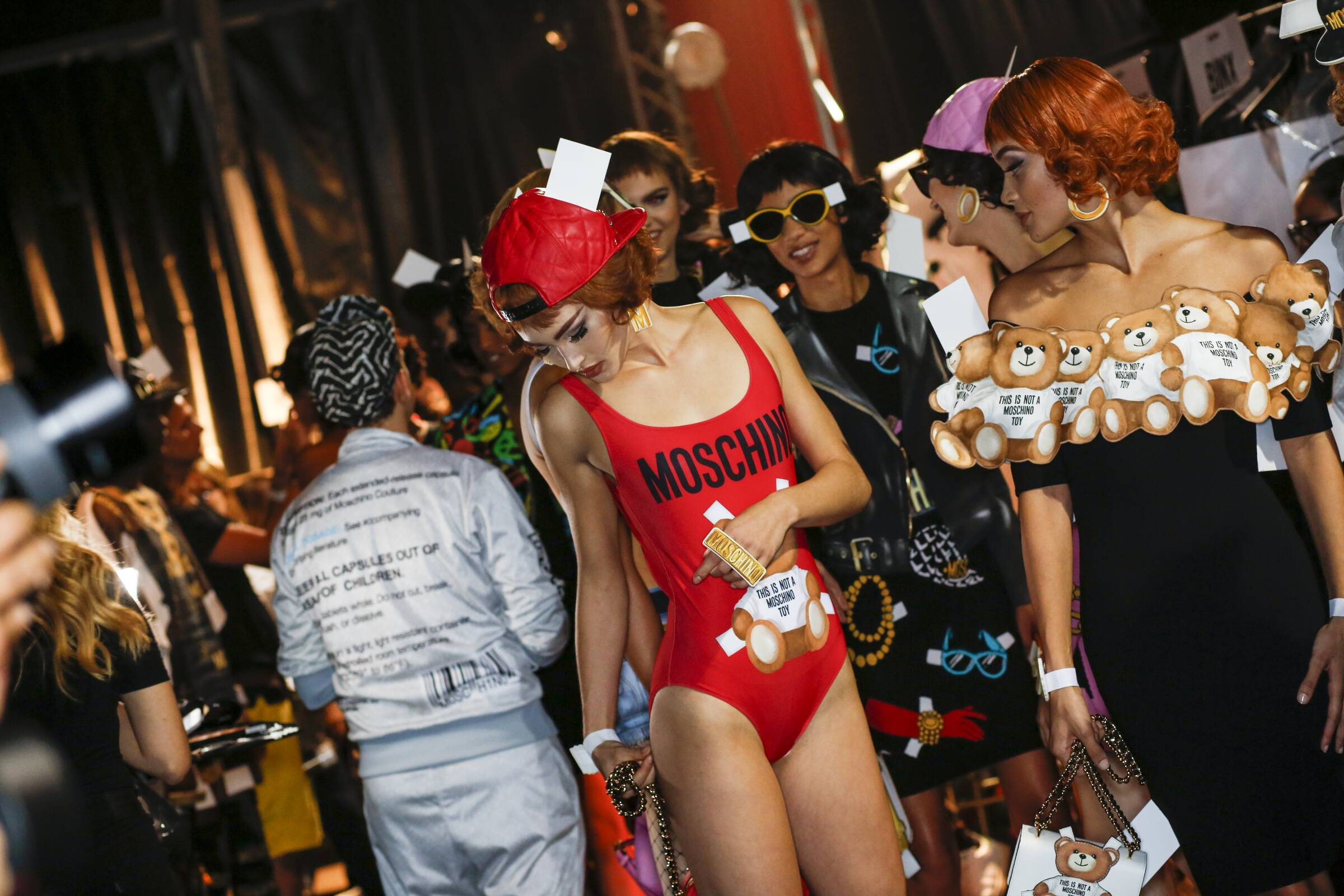 Fashion Models Moschino Backstage Milan