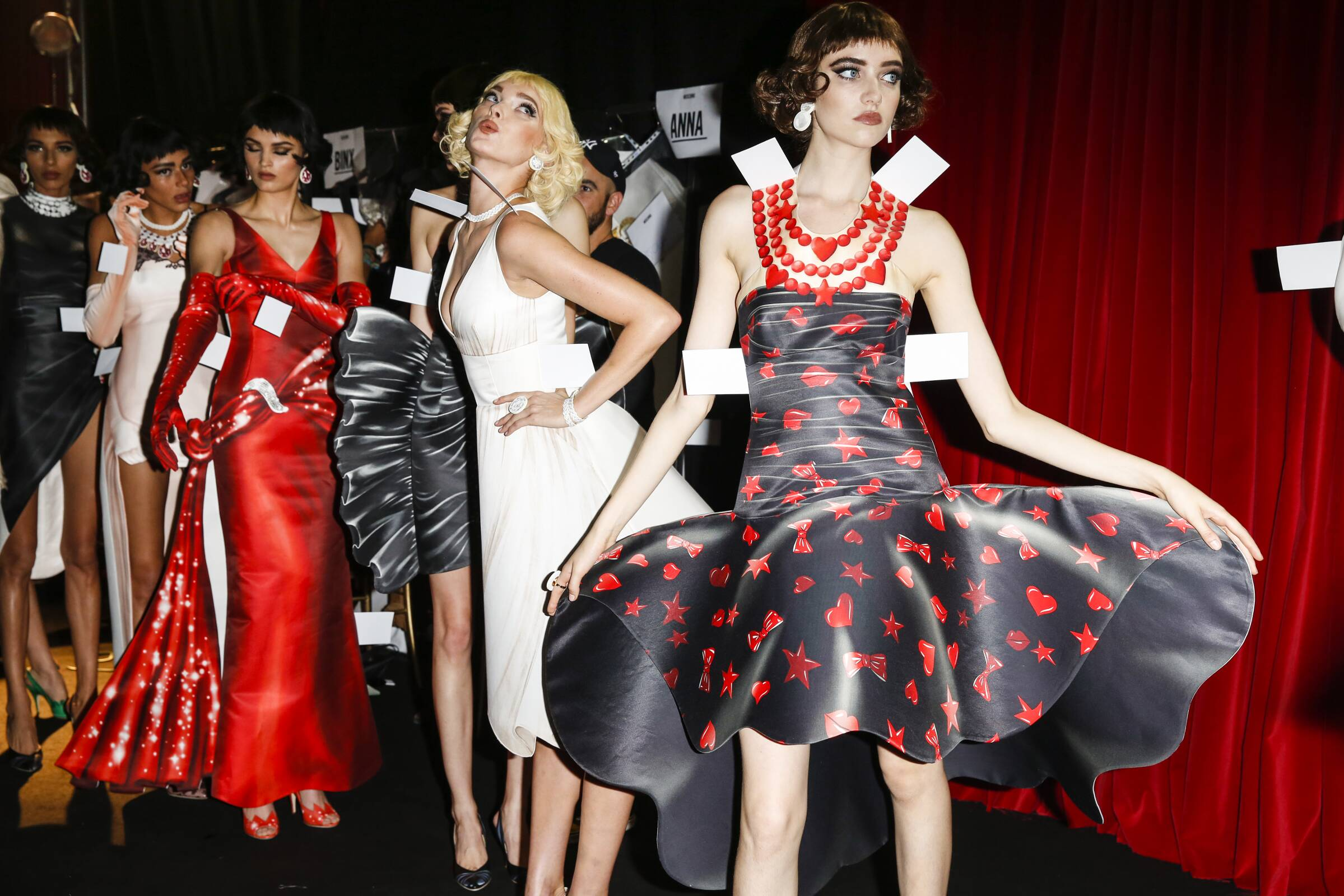 Fashion Models Moschino Backstage