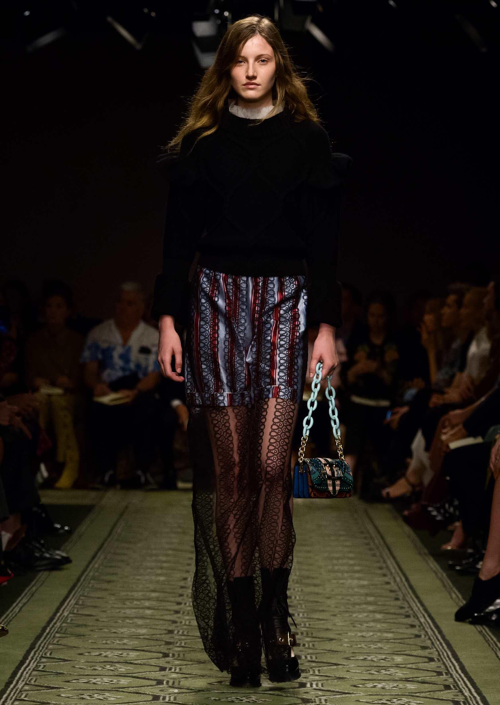Fashion Woman Model Burberry Runway London