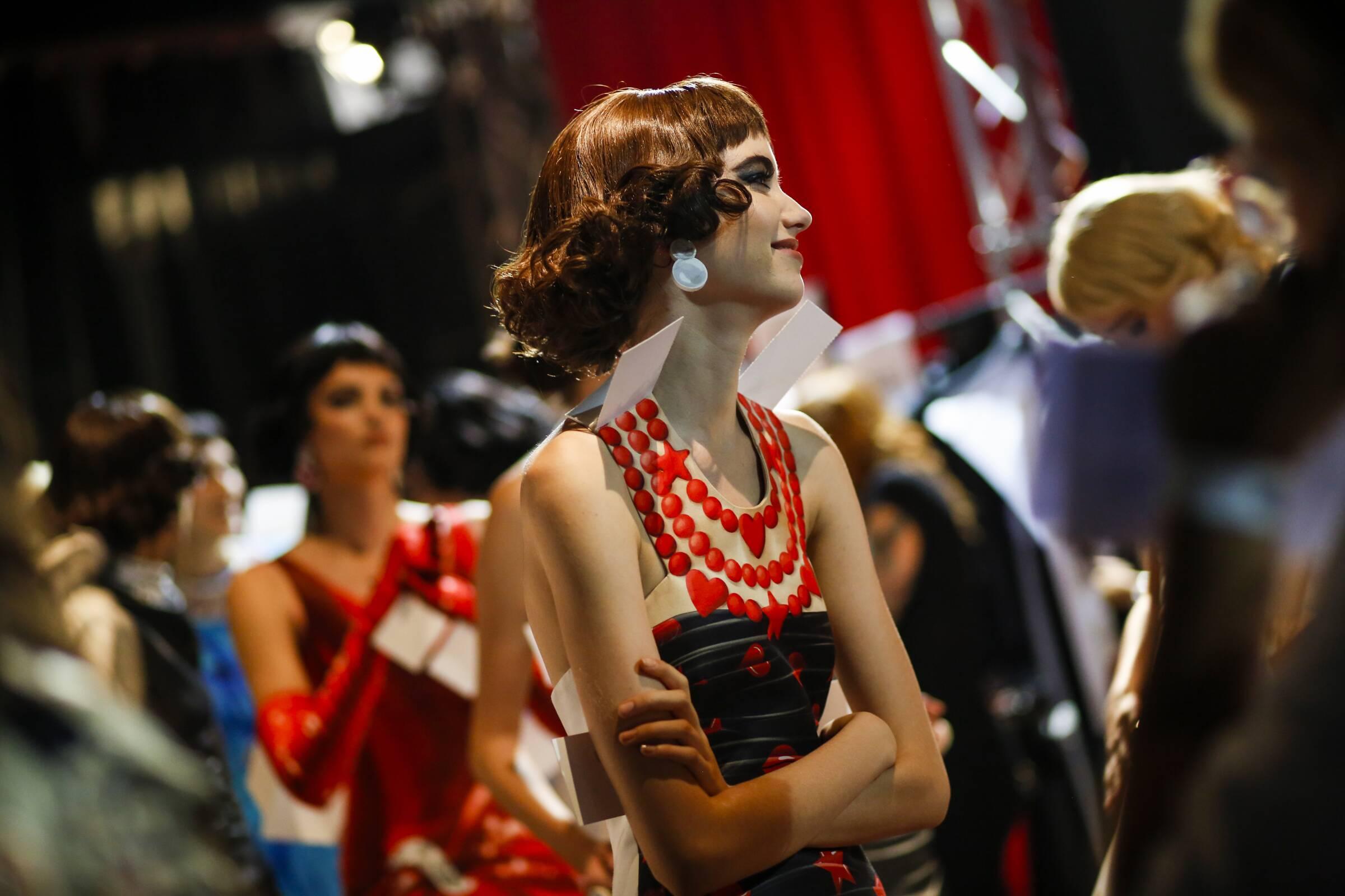 Model Backstage Moschino Milan Fashion Week Woman