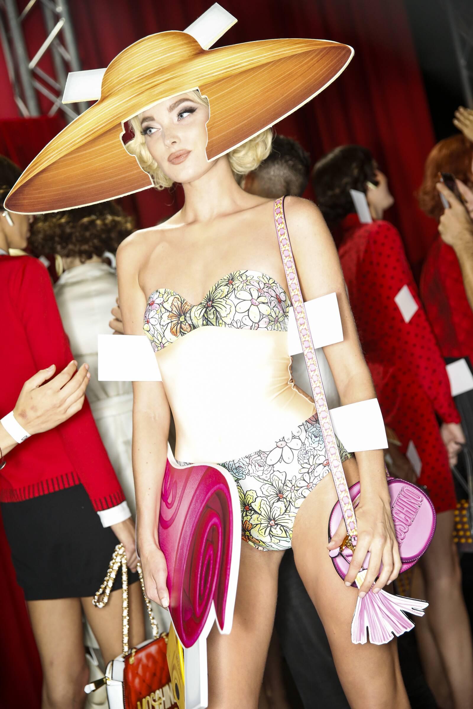 Model Moschino Backstage Milan Fashion
