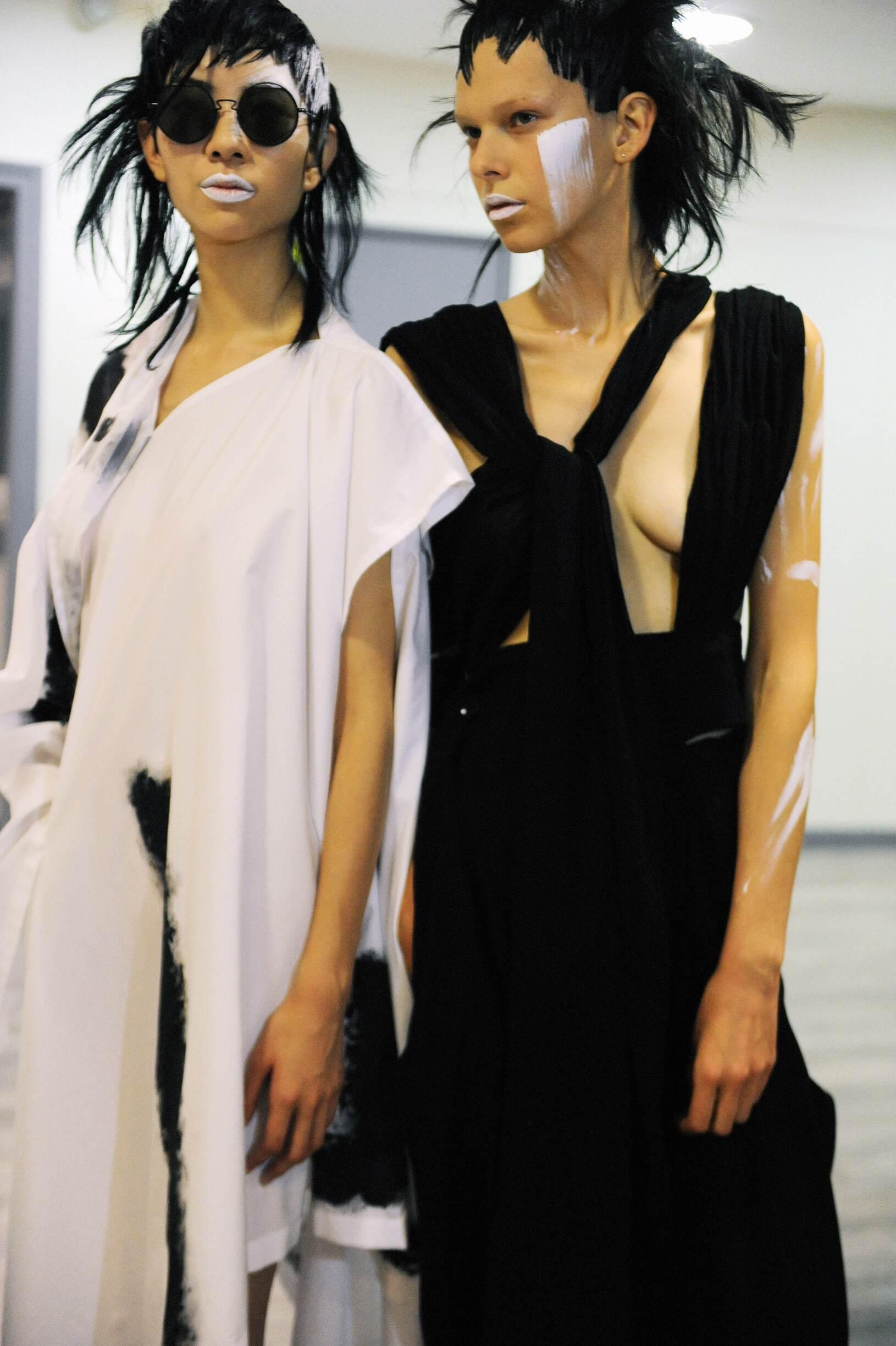 Backstage Yohji Yamamoto Fashion Models