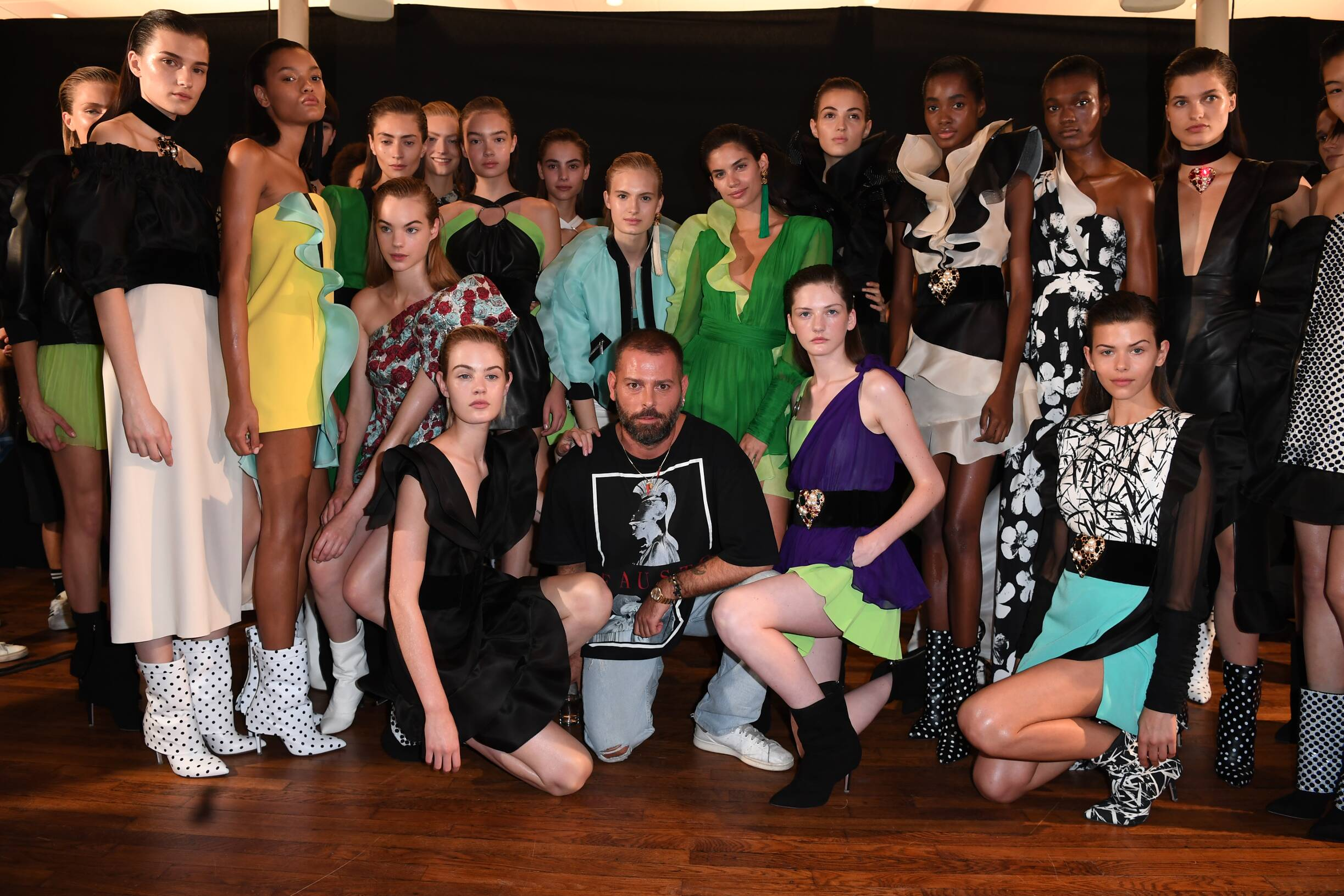 Fausto Puglisi and Models Backstage Emanuel Ungaro Paris
